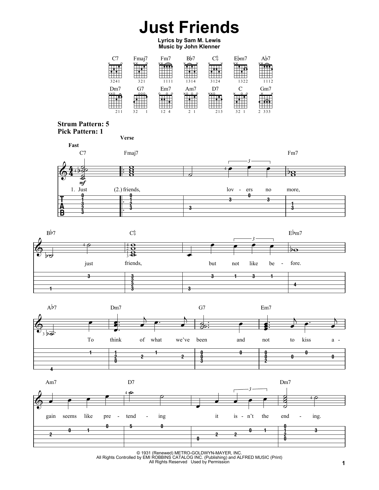 Just Friends (Easy Guitar Tab)