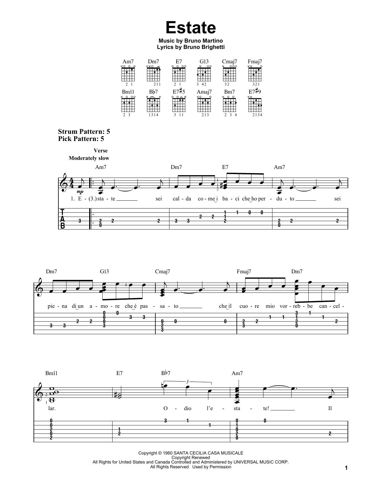 Estate (Easy Guitar Tab)