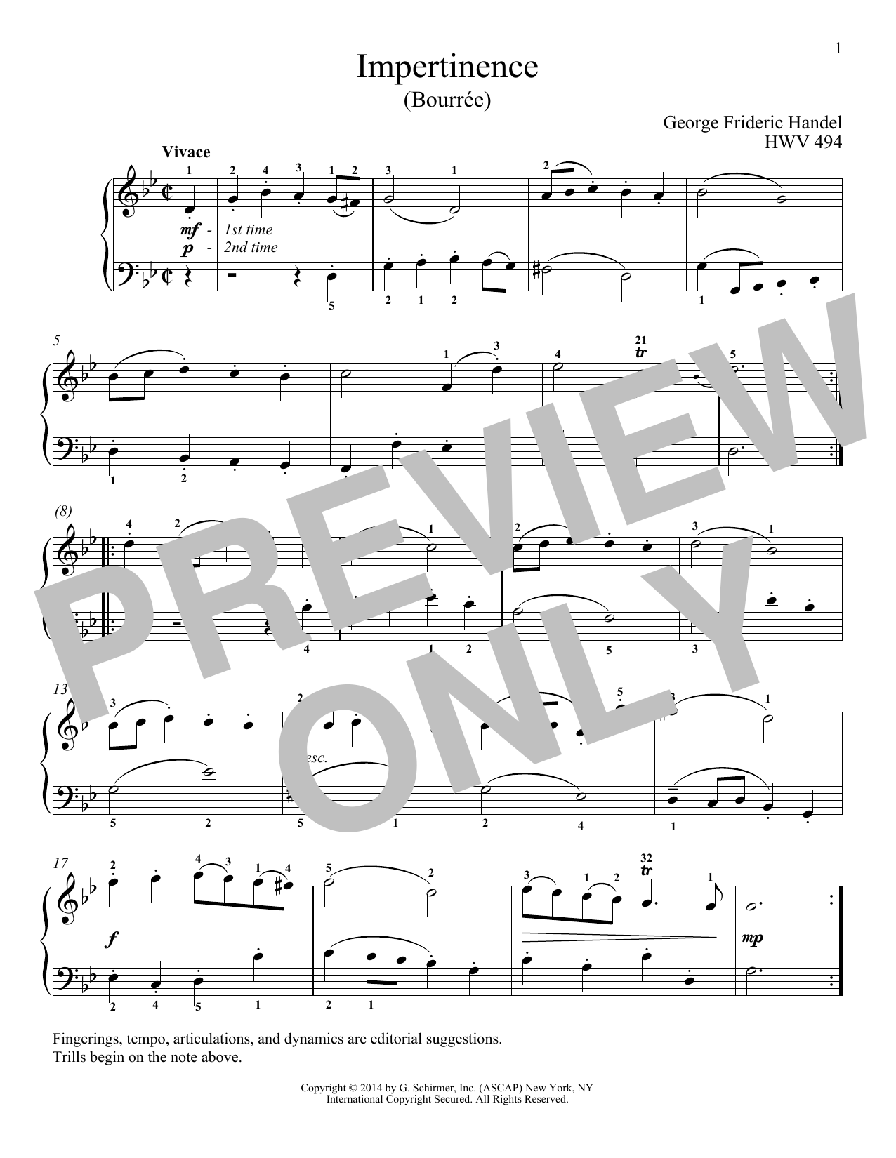 Impertinence, HWV 494 (Piano Solo)