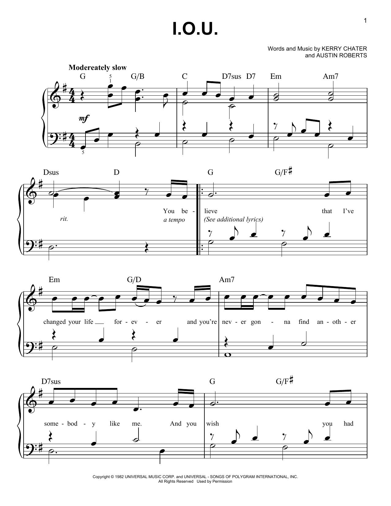 I.O.U. (Easy Piano)