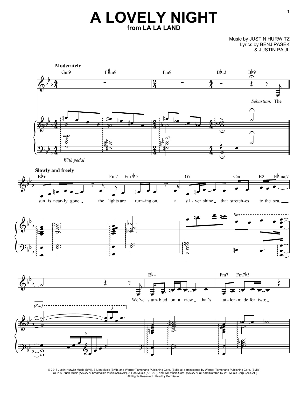 A Lovely Night (Piano & Vocal)