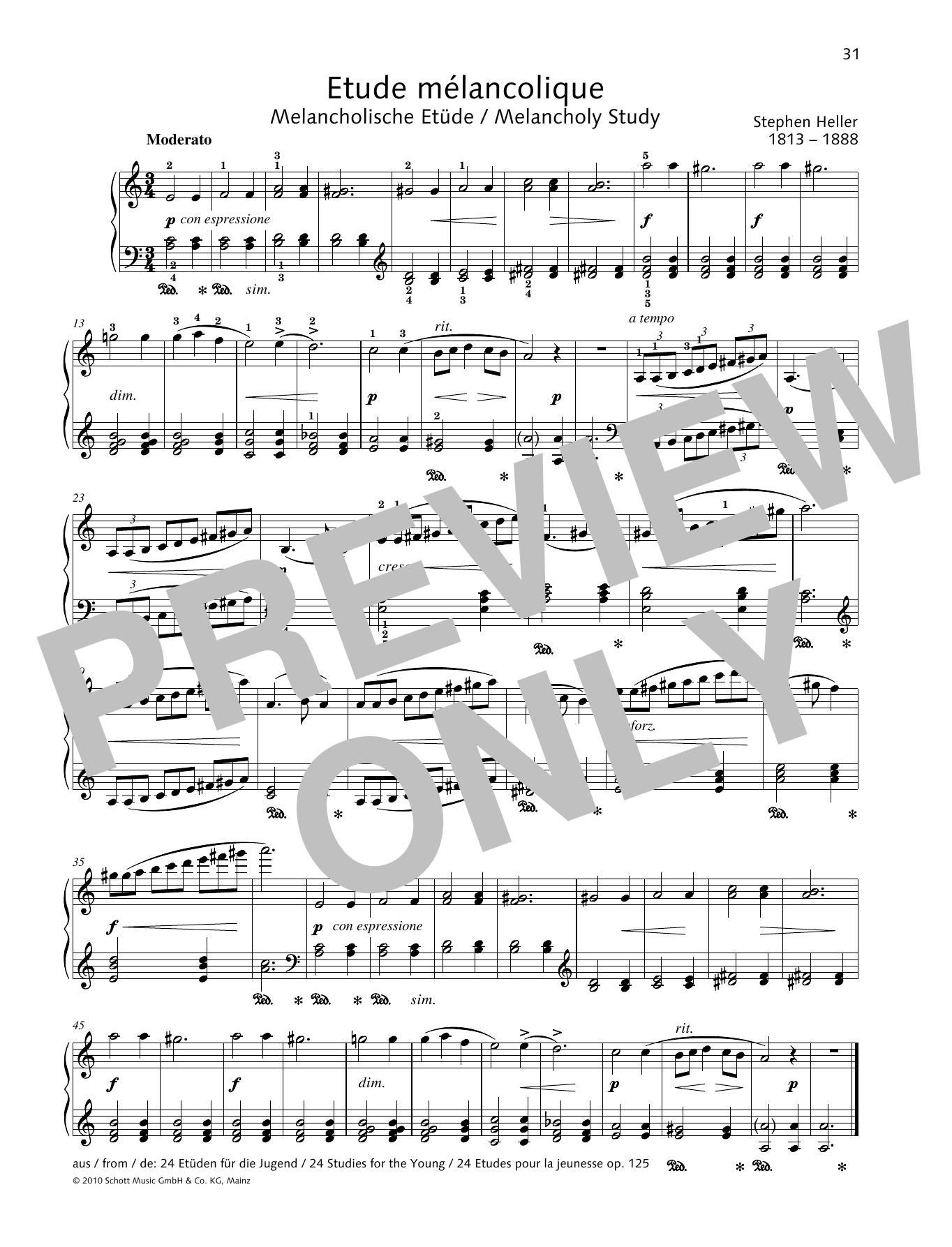 Melancholy Study Sheet Music