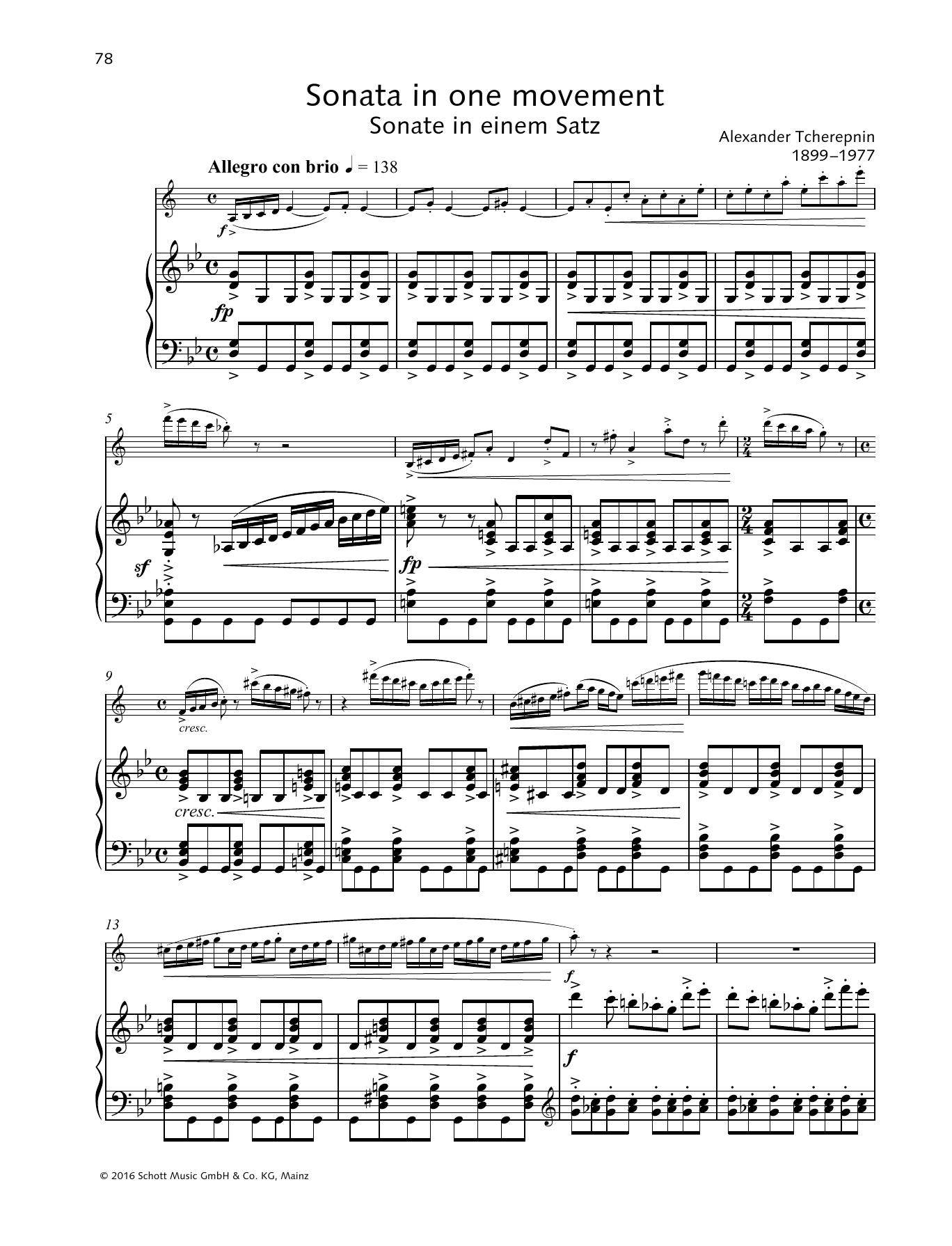 Sonata in One Movement Sheet Music