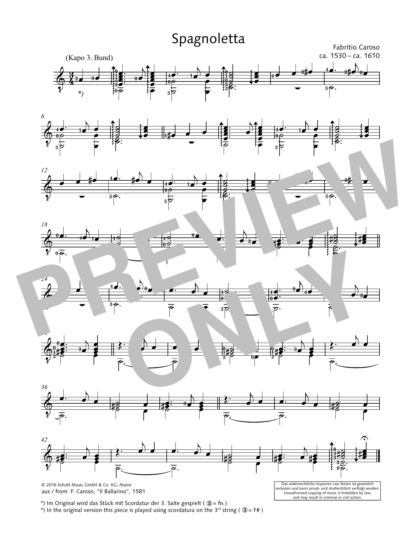 Spagnoletta Sheet Music