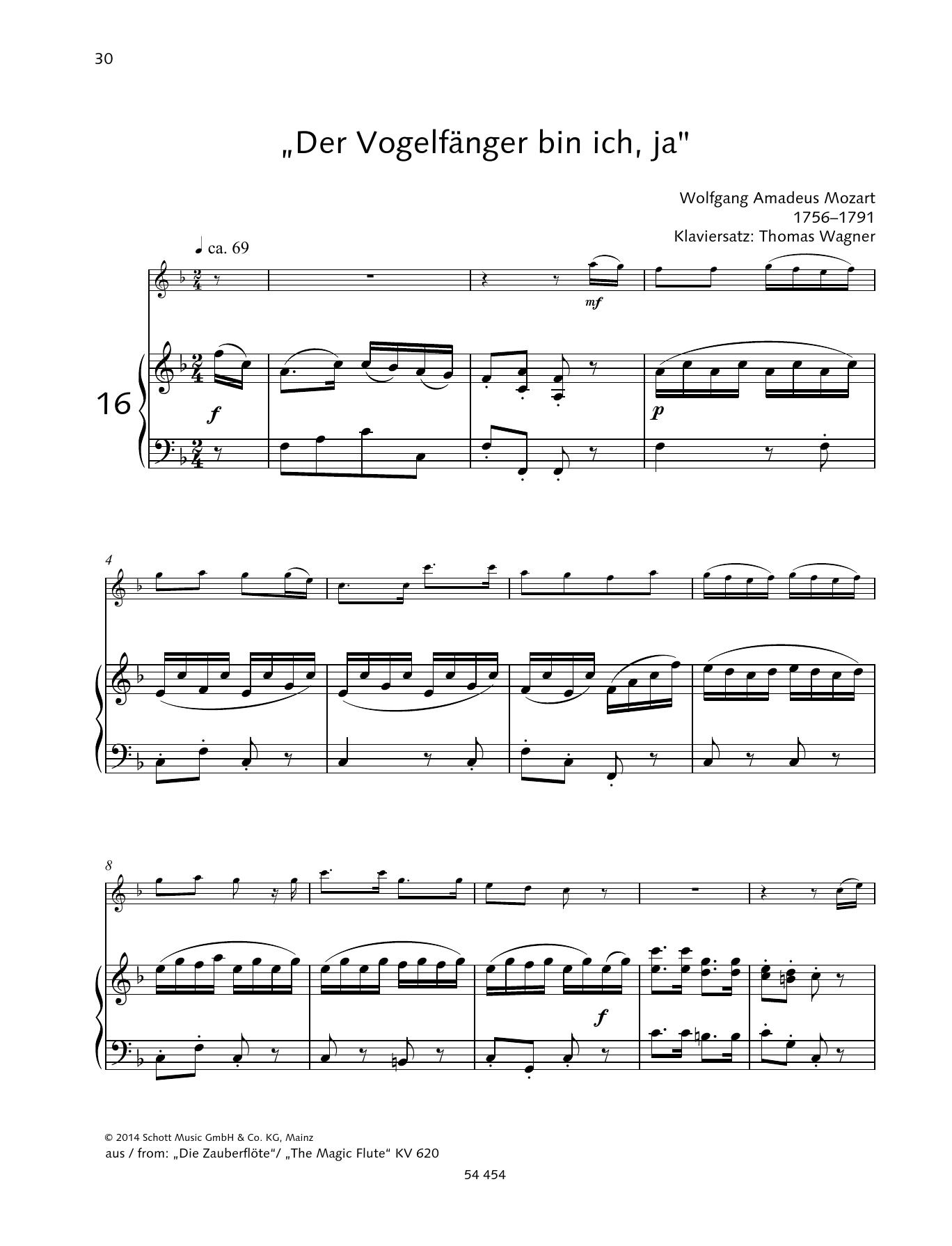 """""""Der Vogelfänger bin ich, ja"""" Sheet Music"""