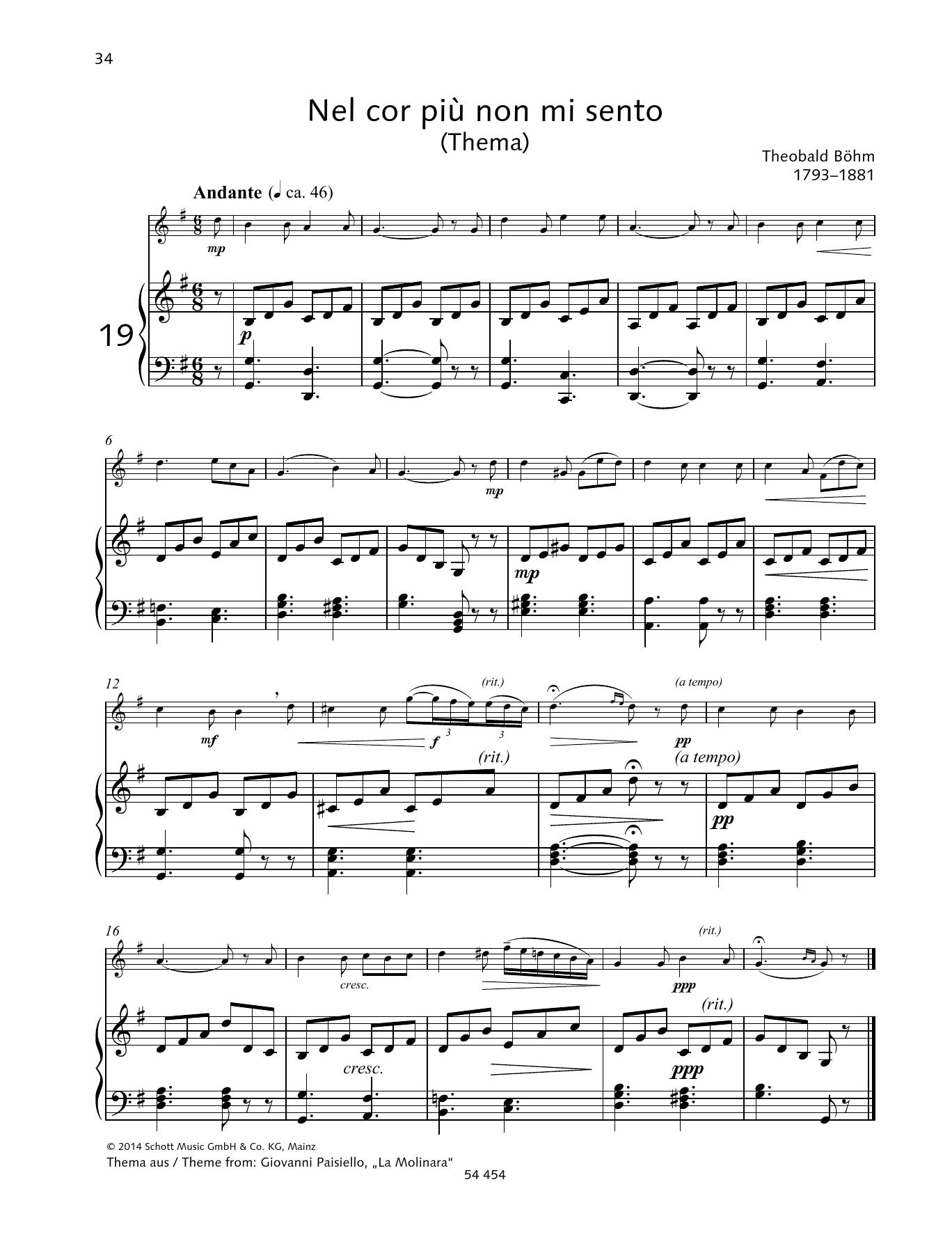 Nel Cor Più Non Mi Sento Sheet Music
