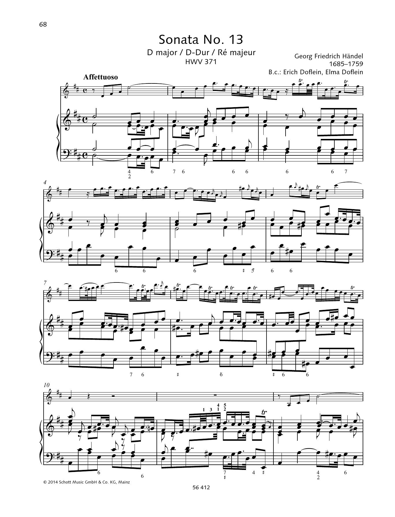 Sonata No. 13 D major Sheet Music