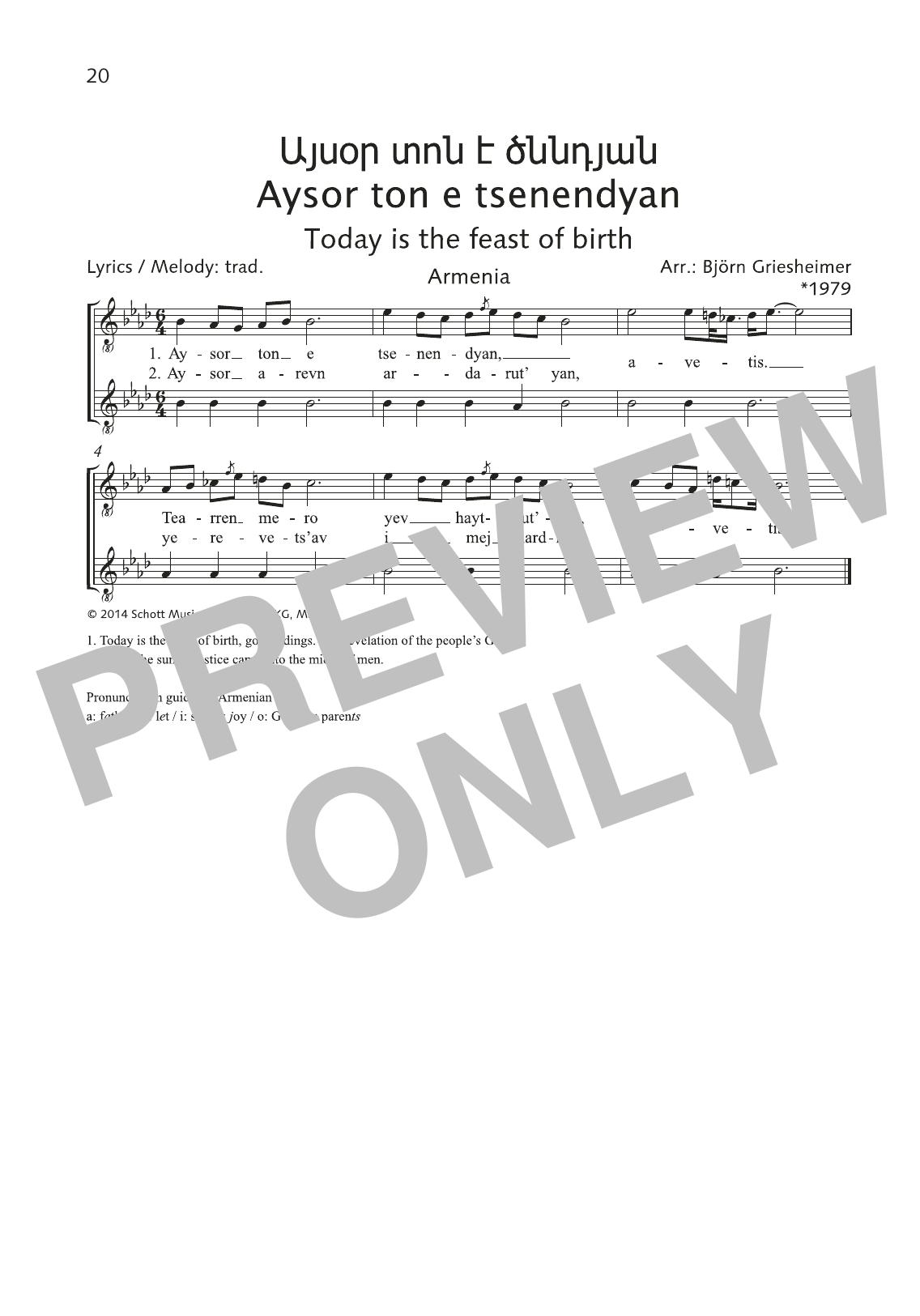 Aysor ton e tsenendyan Sheet Music