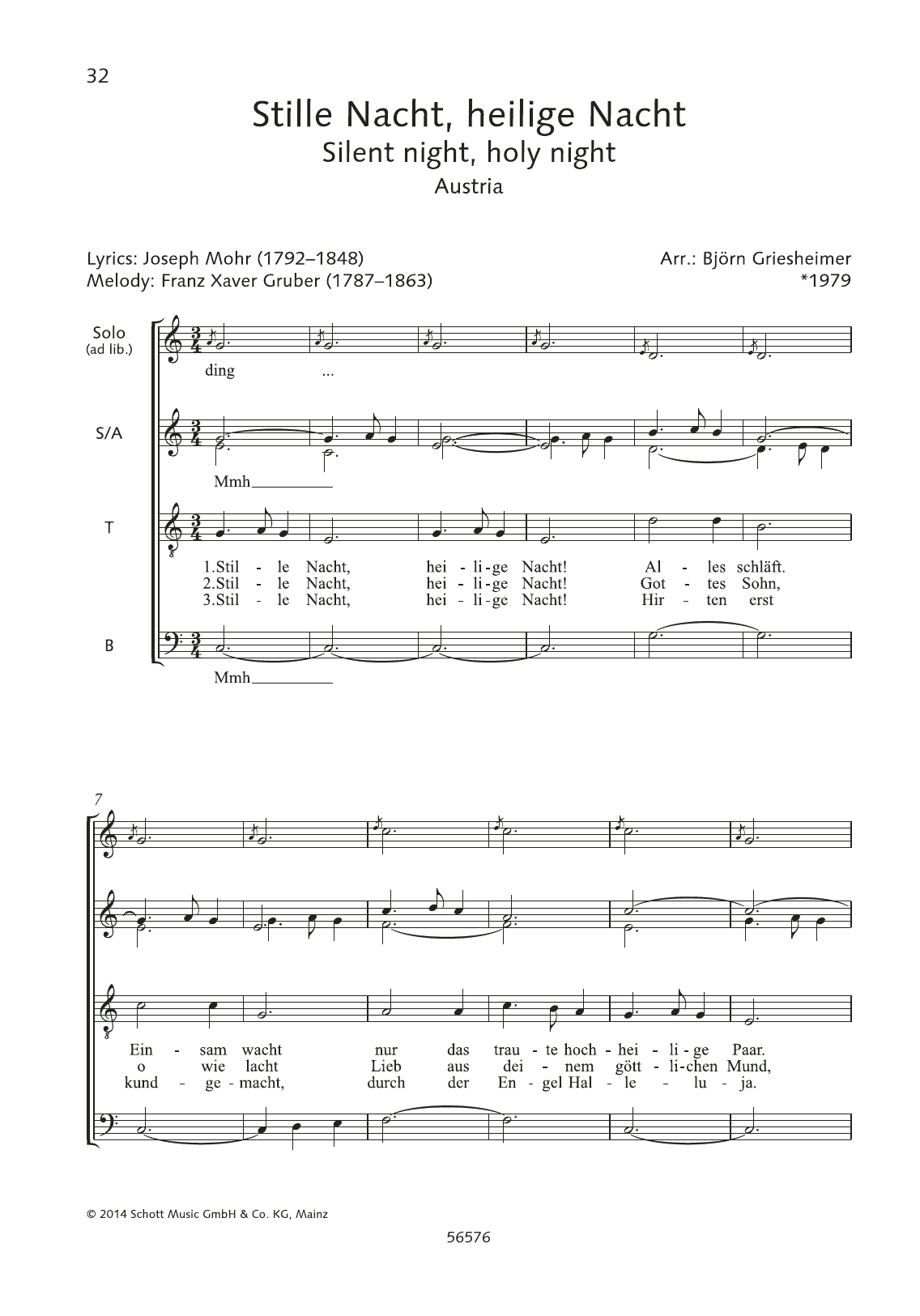 Stille Nacht, Heilige Nacht Sheet Music