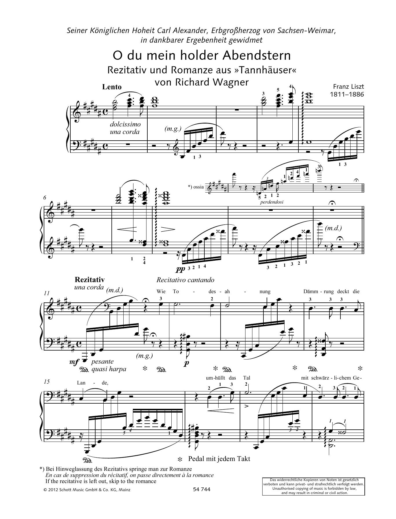 O thou beloved evening star Sheet Music