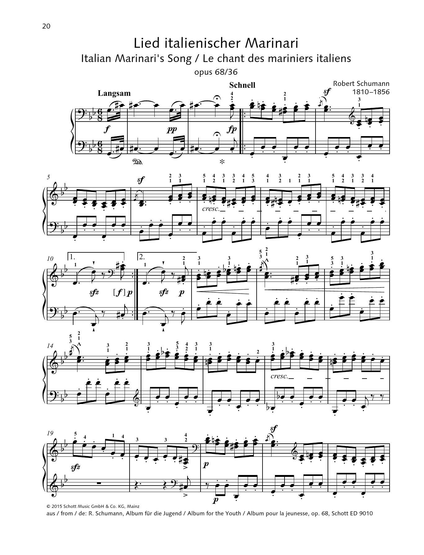 Italian Marinari's Song Sheet Music