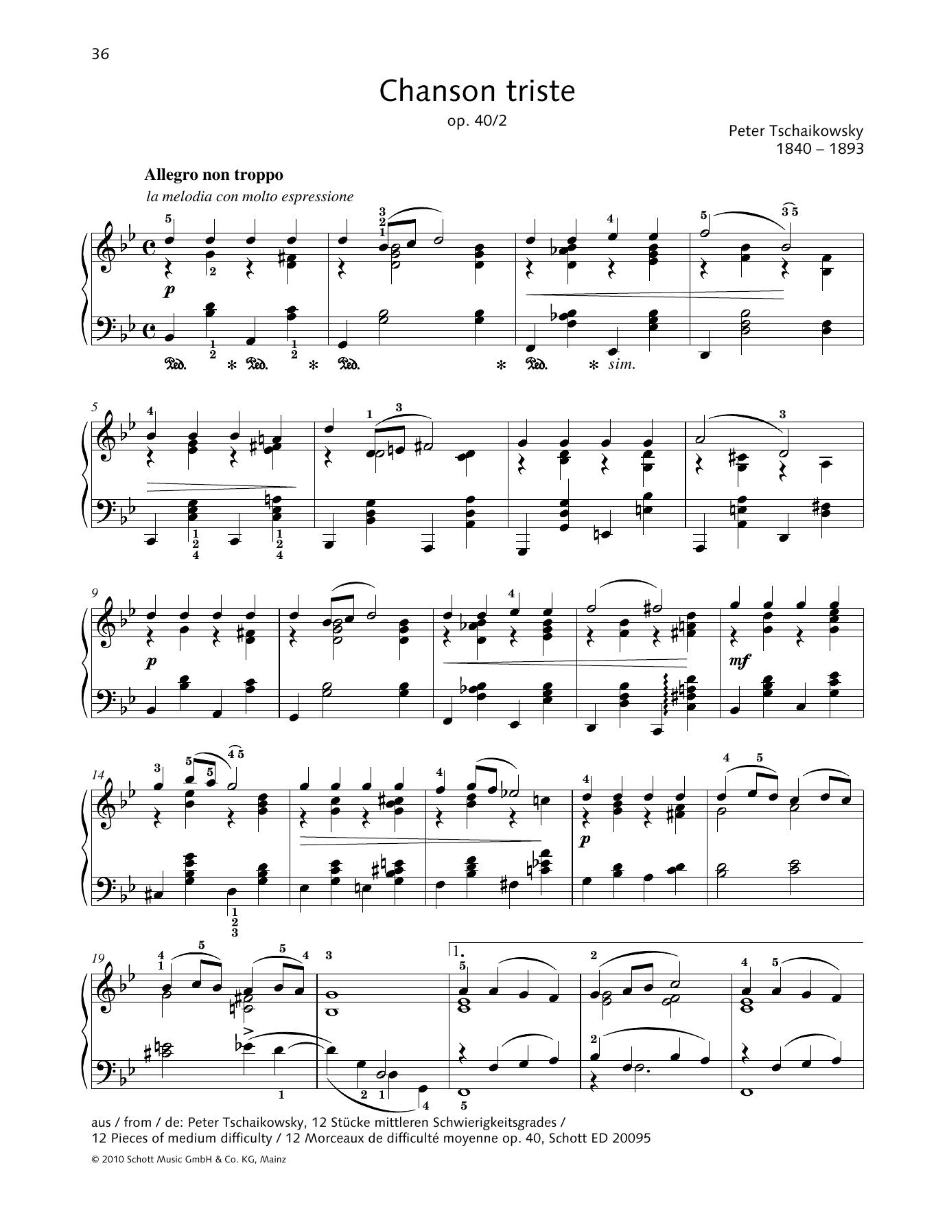 Chanson Triste Sheet Music