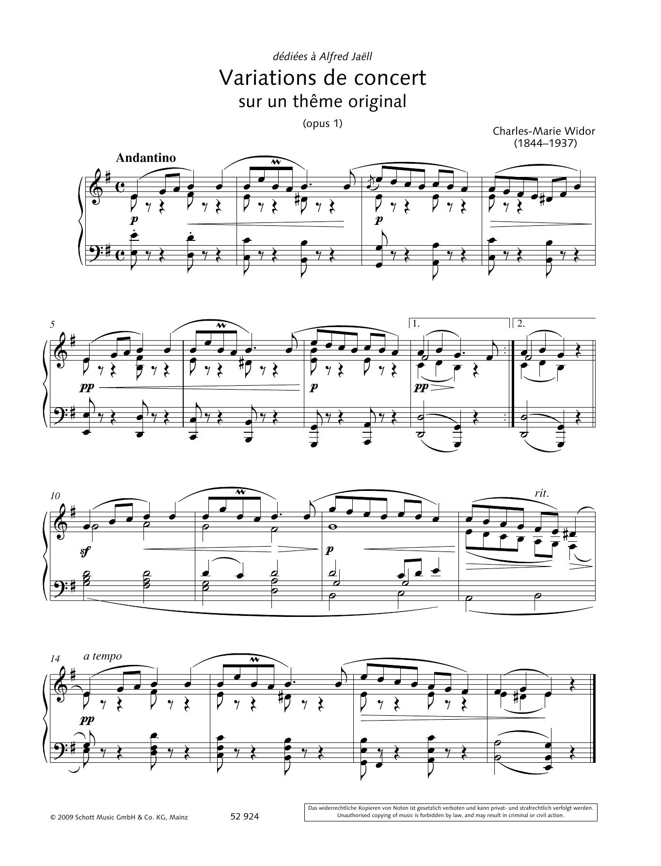Variations de concert sur un thême original Sheet Music