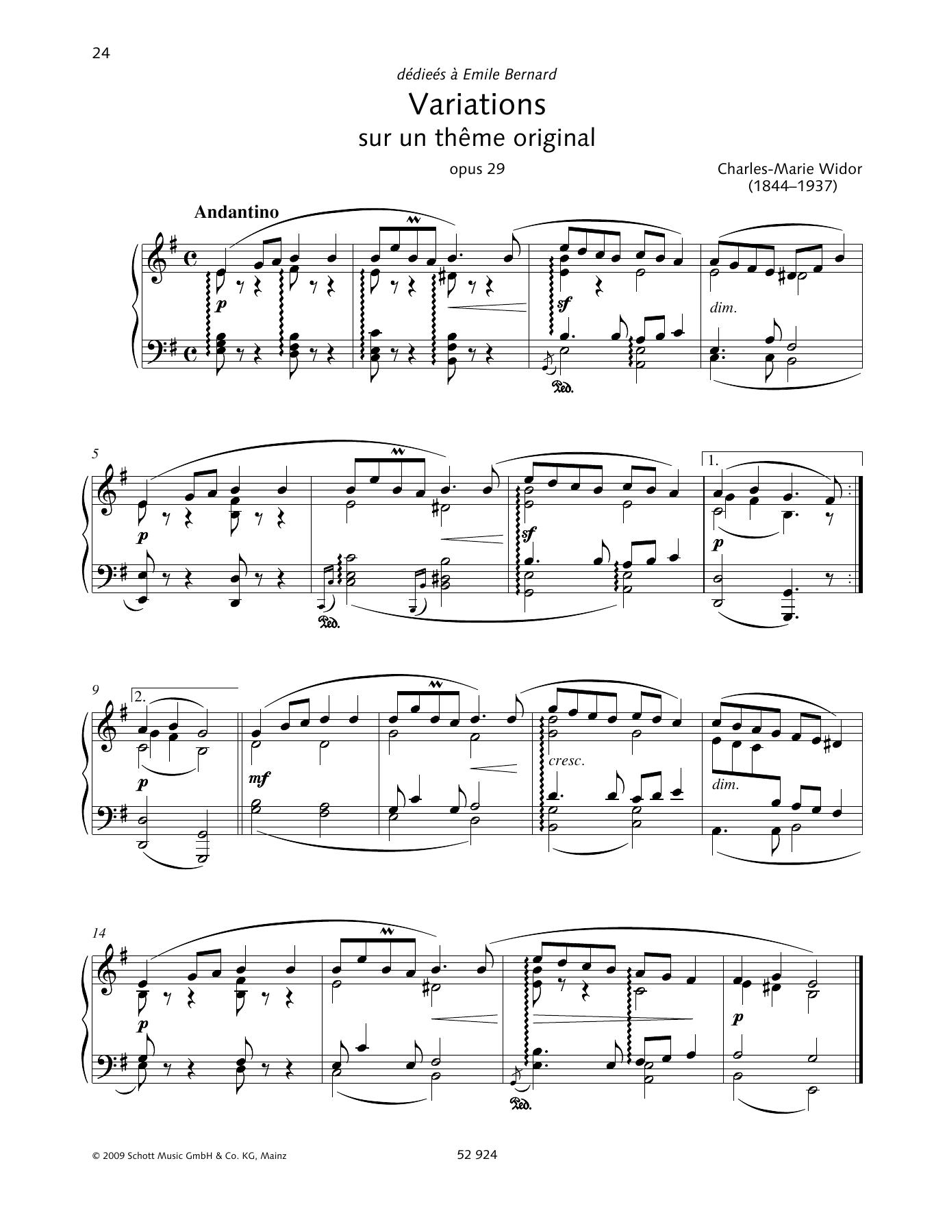 Variations sur un thème original Partition Digitale