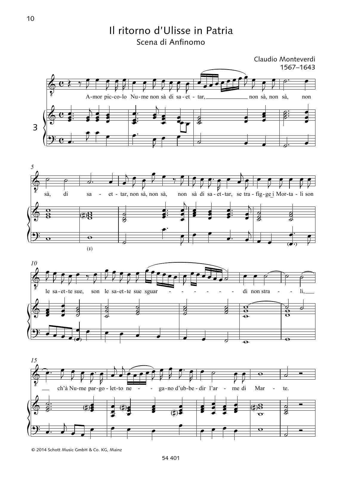 Amor piccolo Nume non sà di saettar Sheet Music