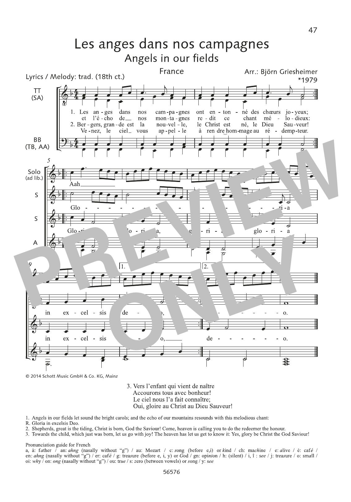 Les Anges Dans Nos Campagnes Sheet Music