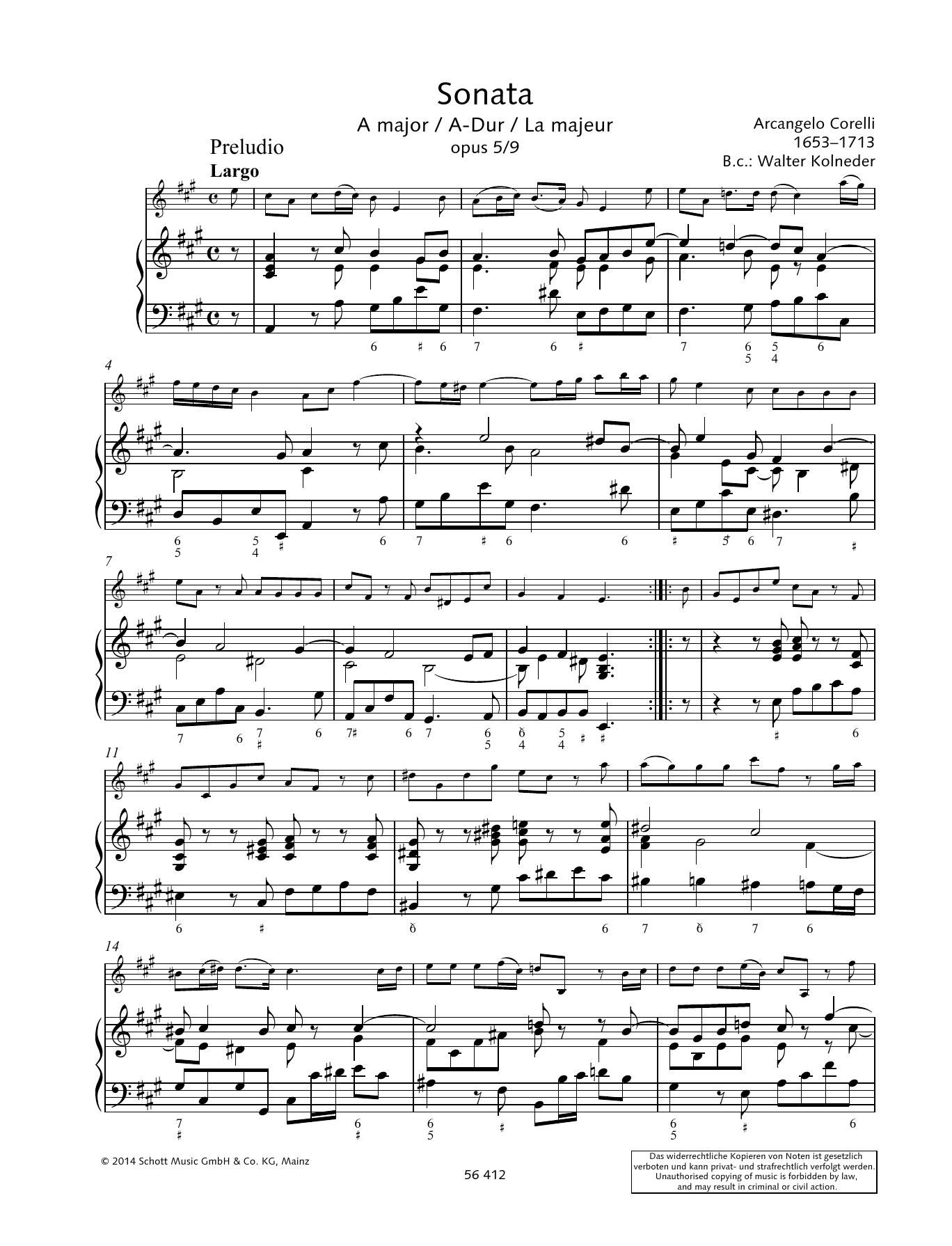 Sonata A Major Sheet Music