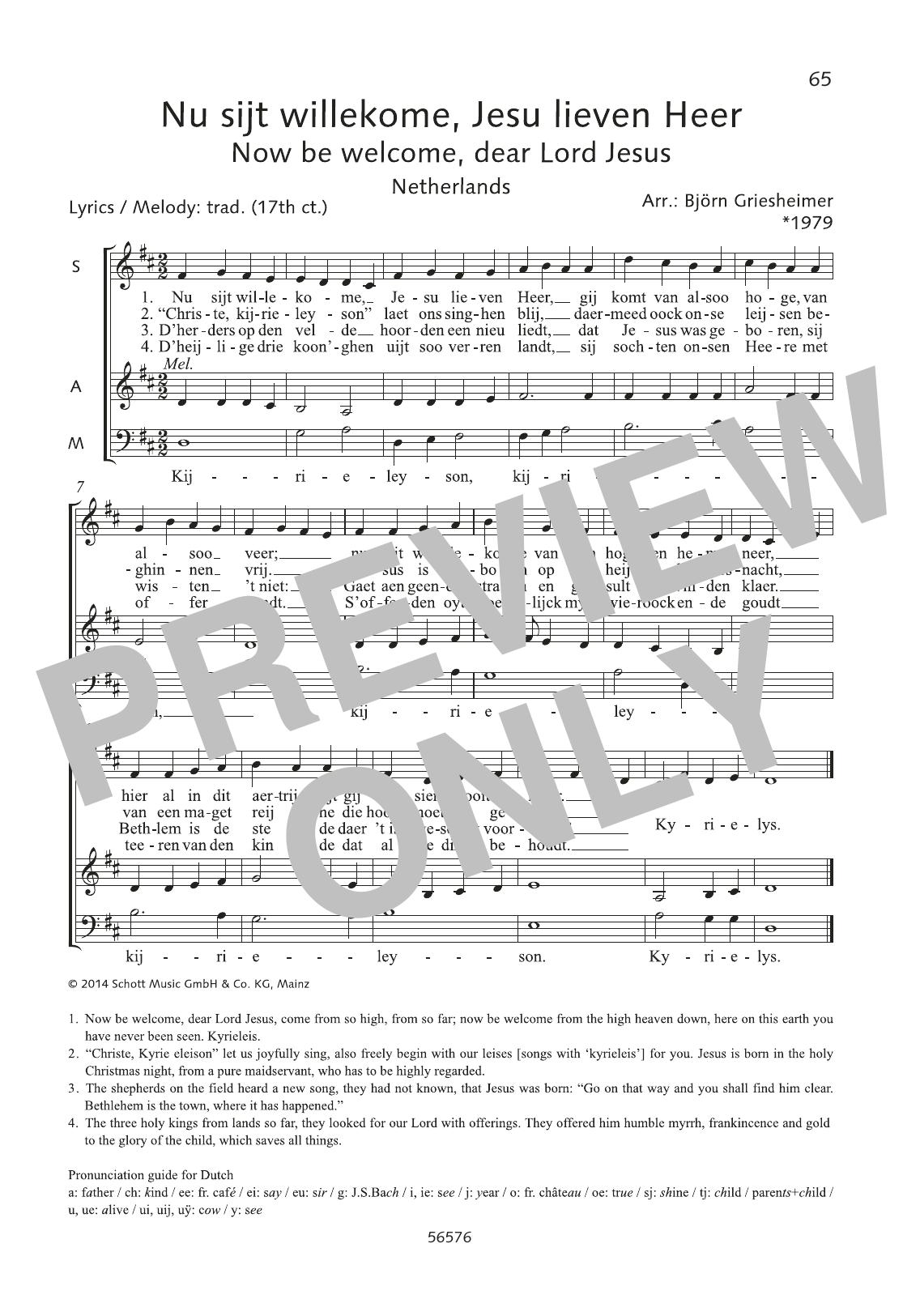 Nu sijt willekome, Jesu lieven Heer Sheet Music