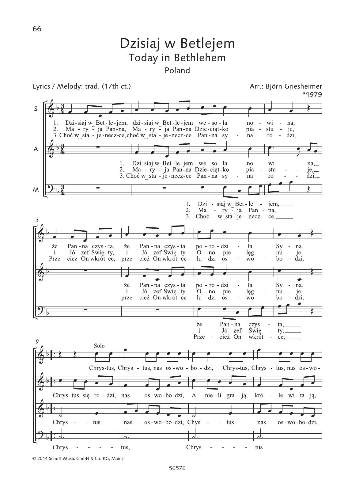 Dzisiaj w Betlejem Sheet Music