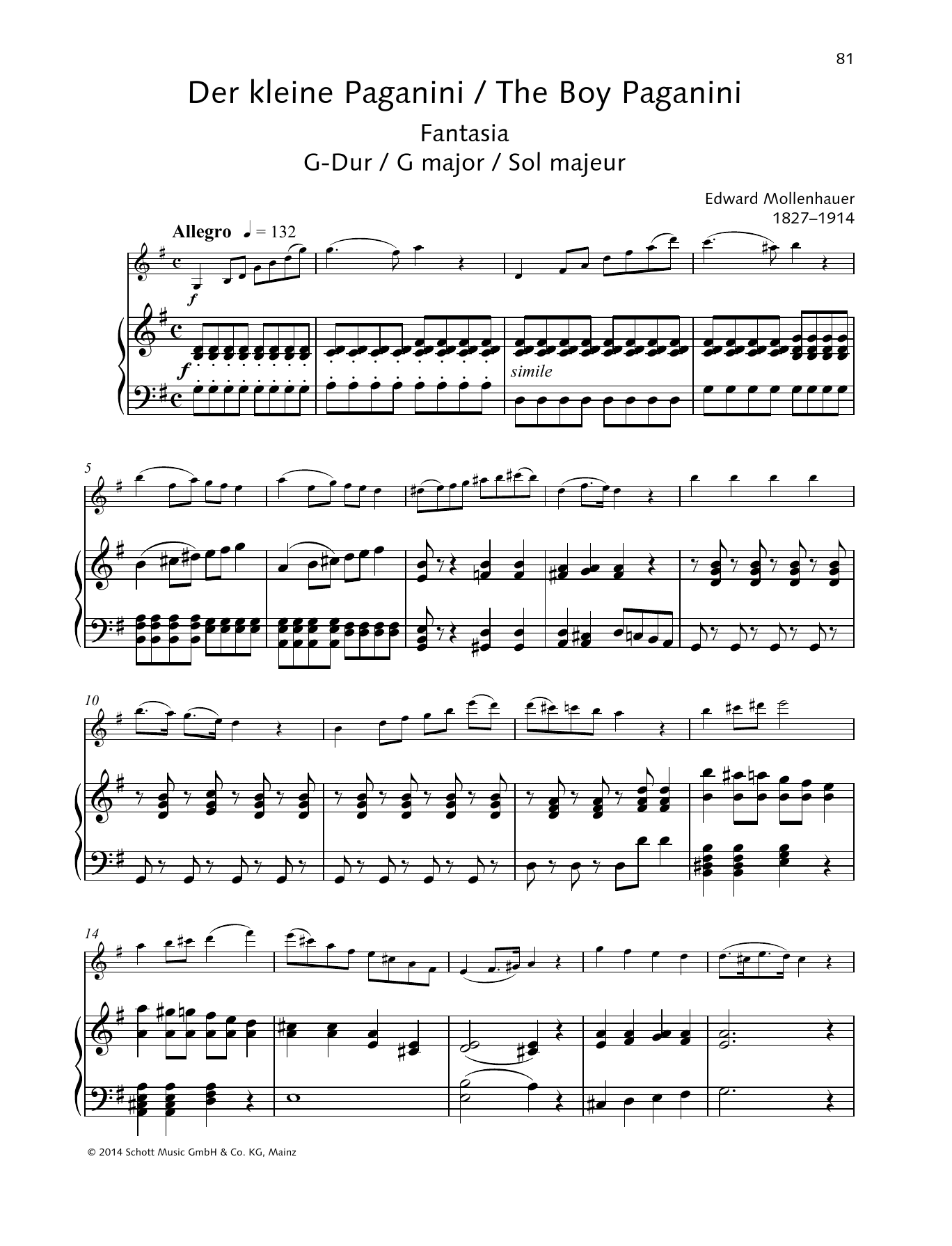 The Boy Paganini Sheet Music