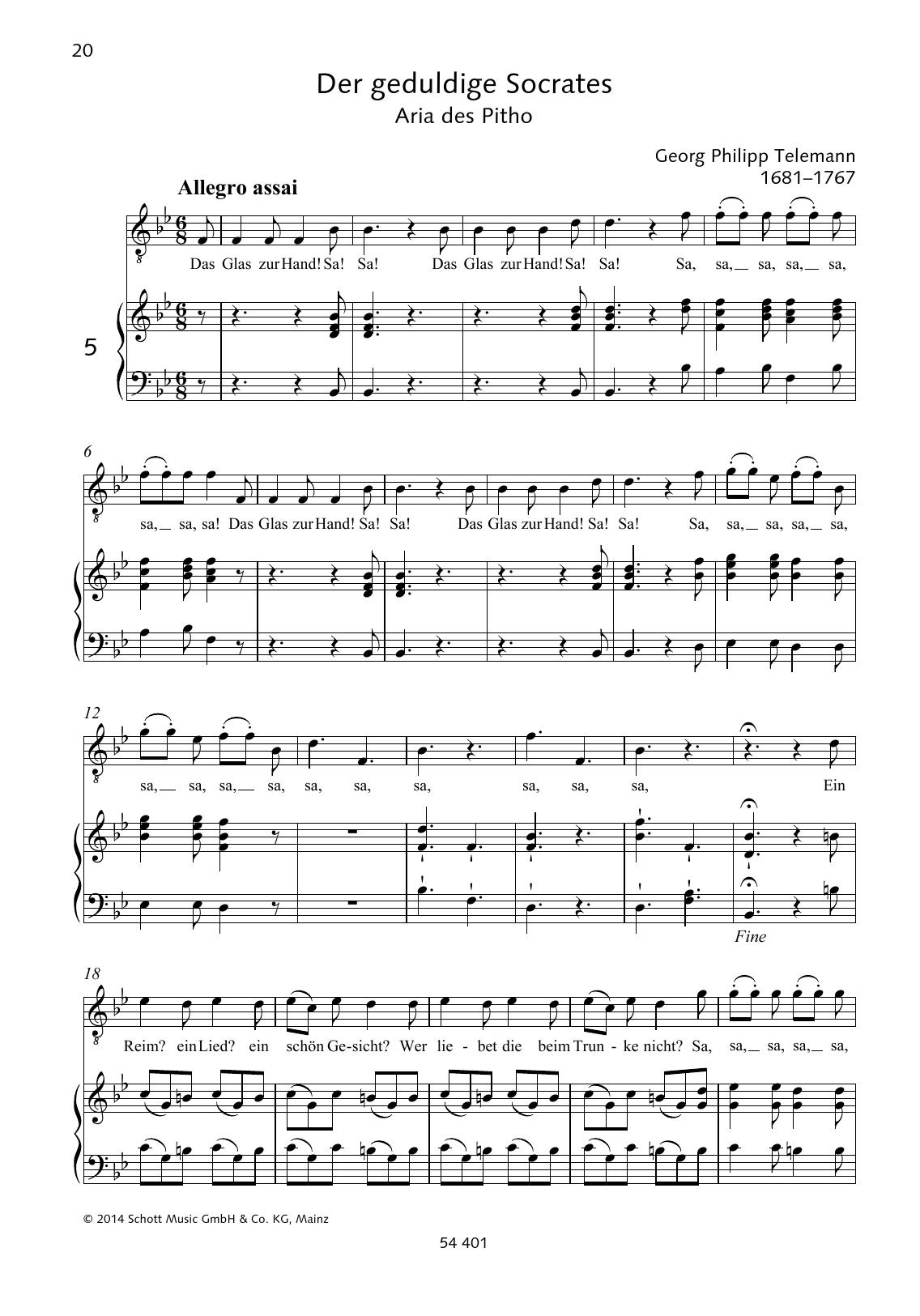 Das Glas zur Hand Sheet Music