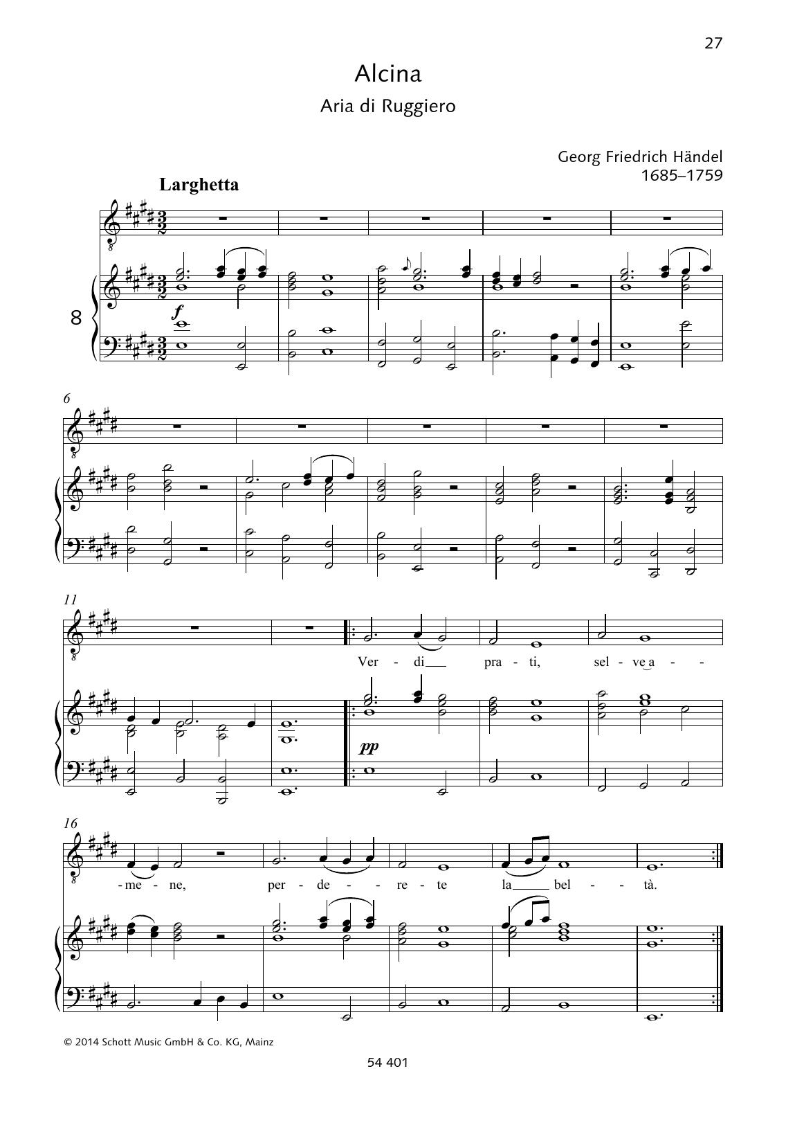Verdi prati, selve amene Sheet Music
