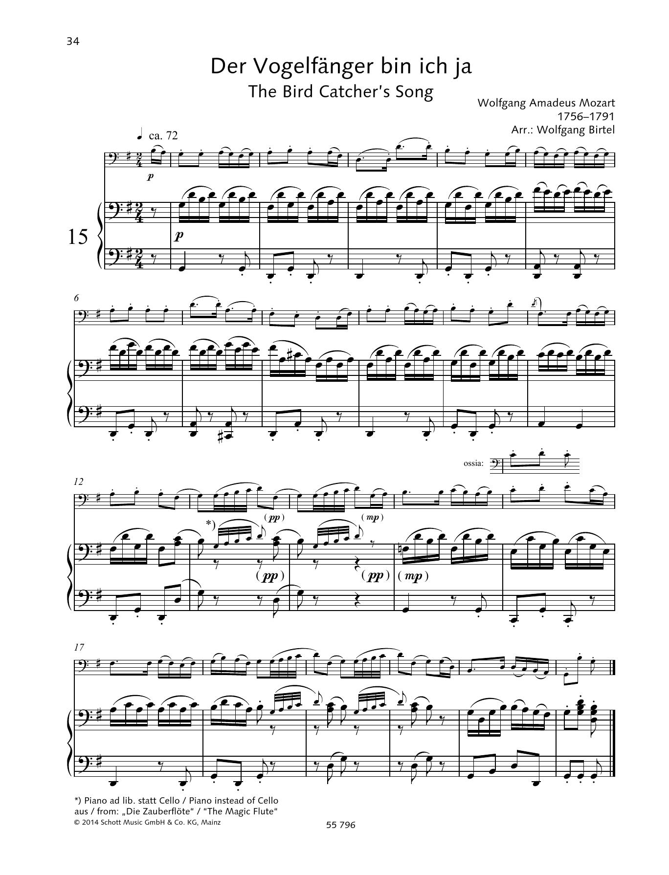 The Bird Catcher's Song Sheet Music