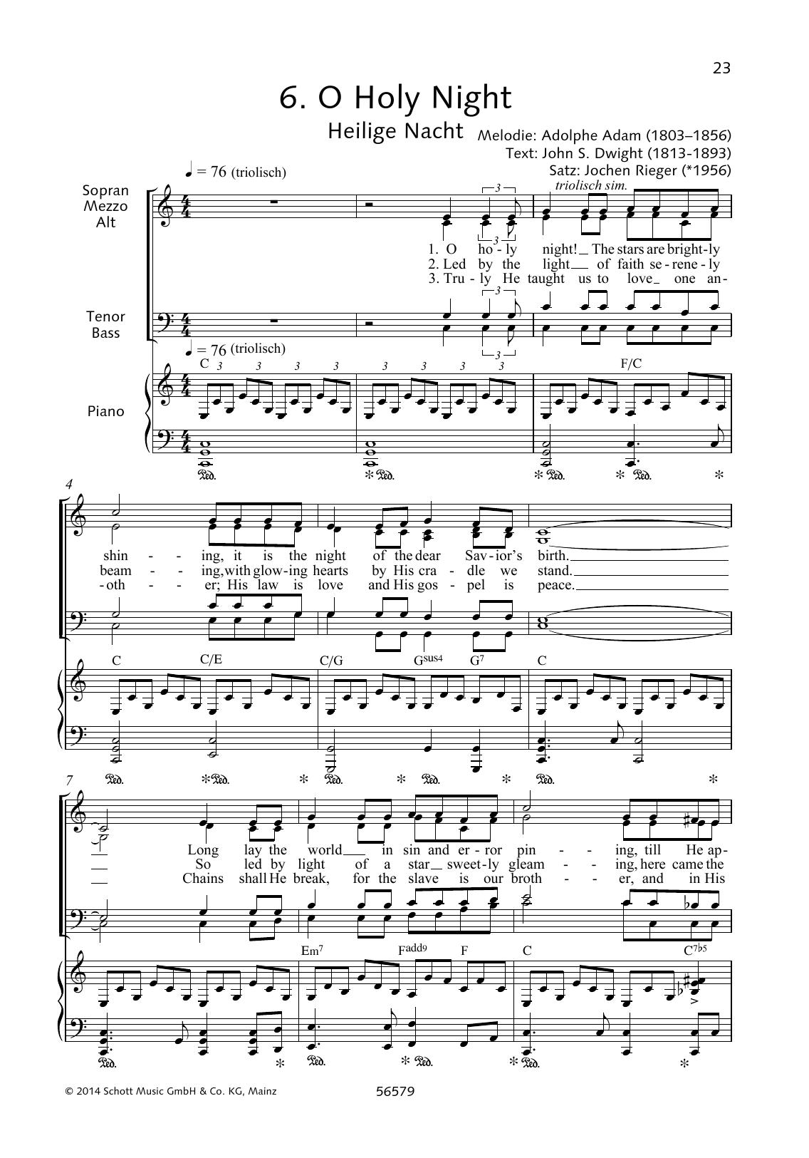 O Holy Night By Jochen Rieger Choral Digital Sheet Music