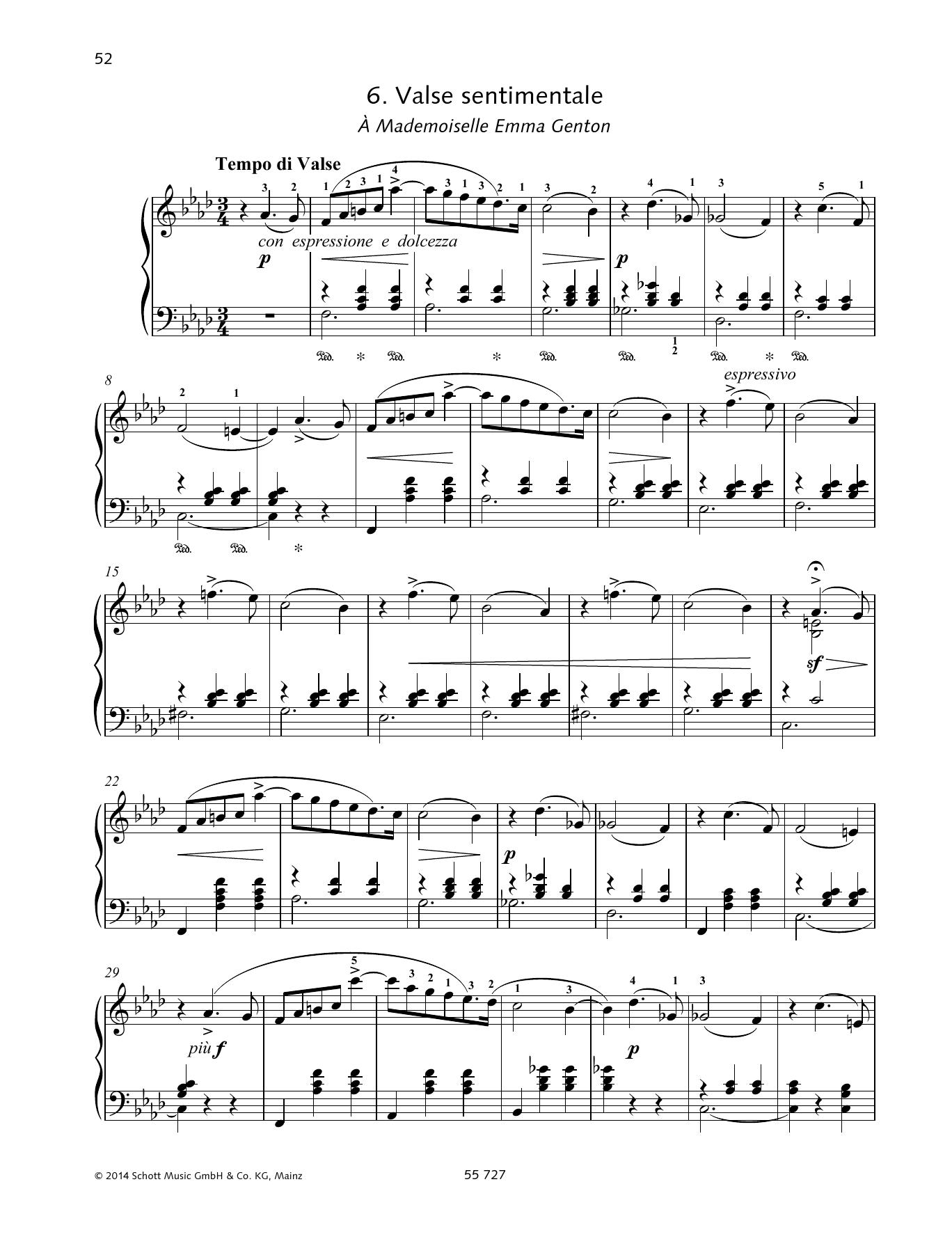 Valse Sentimentale Sheet Music