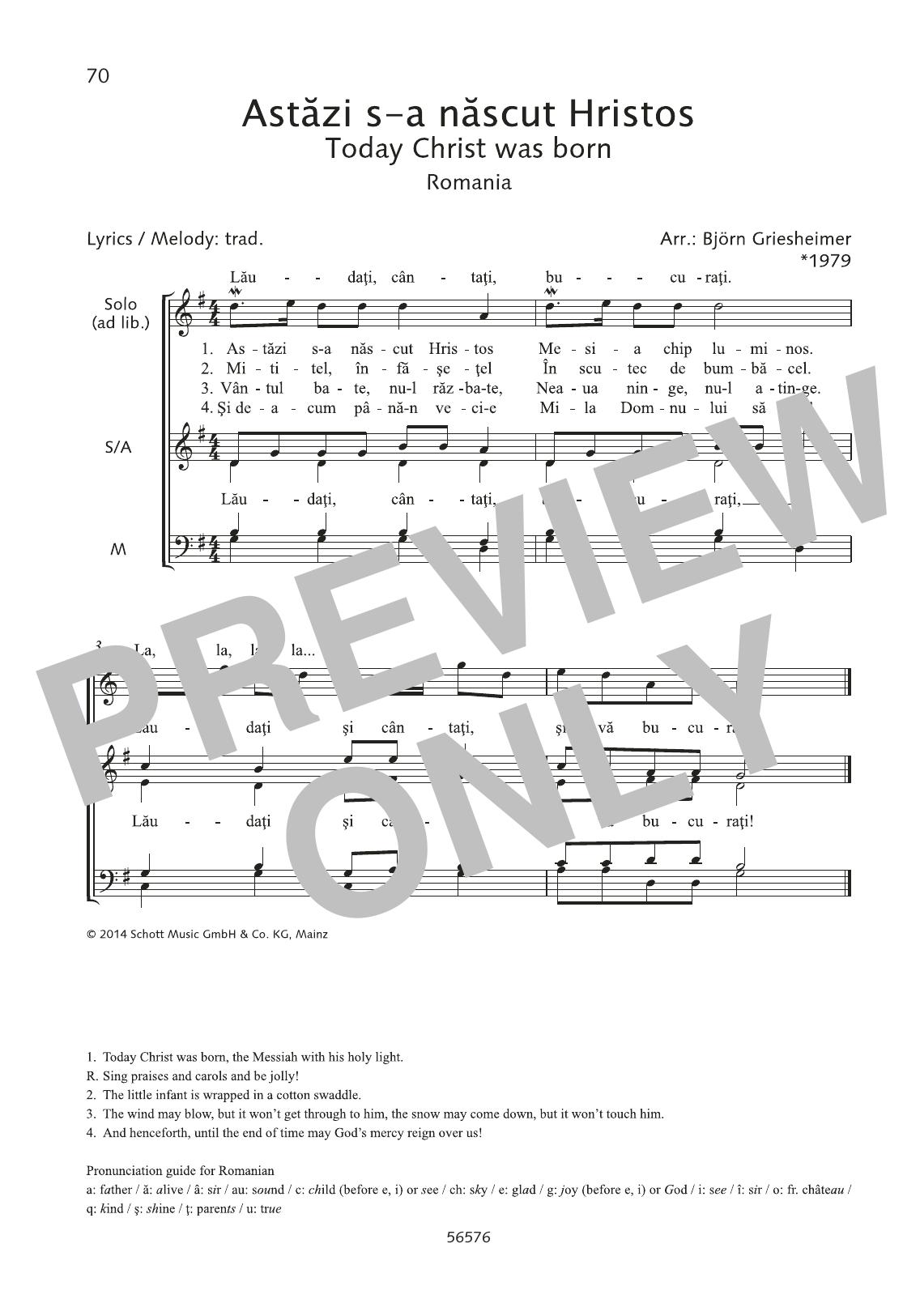 Astazi s-a nascut Hristos Sheet Music