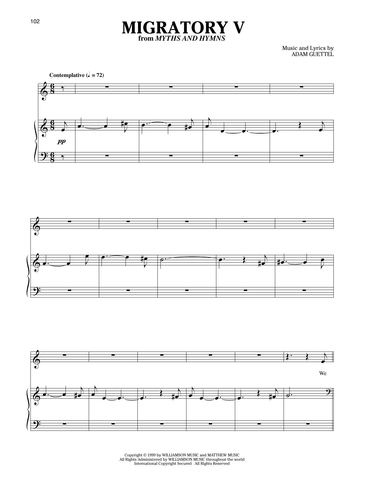 Partition piano Migratory V de Adam Guettel - Piano Voix