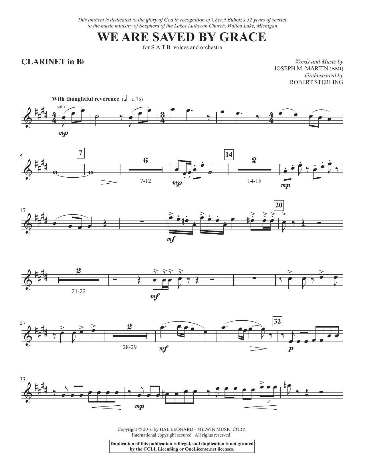 We Are Saved by Grace - Bb Clarinet Sheet Music