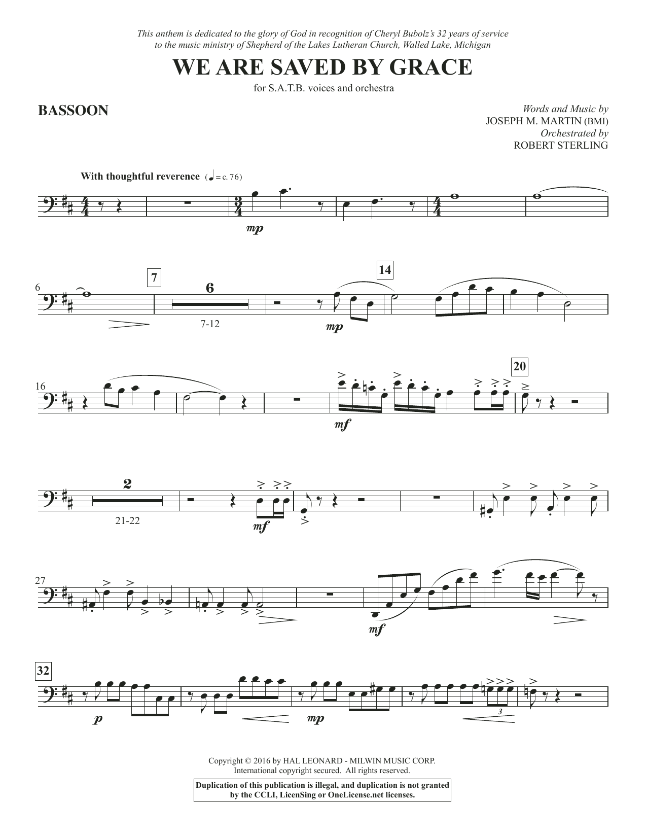 We Are Saved by Grace - Bassoon Sheet Music