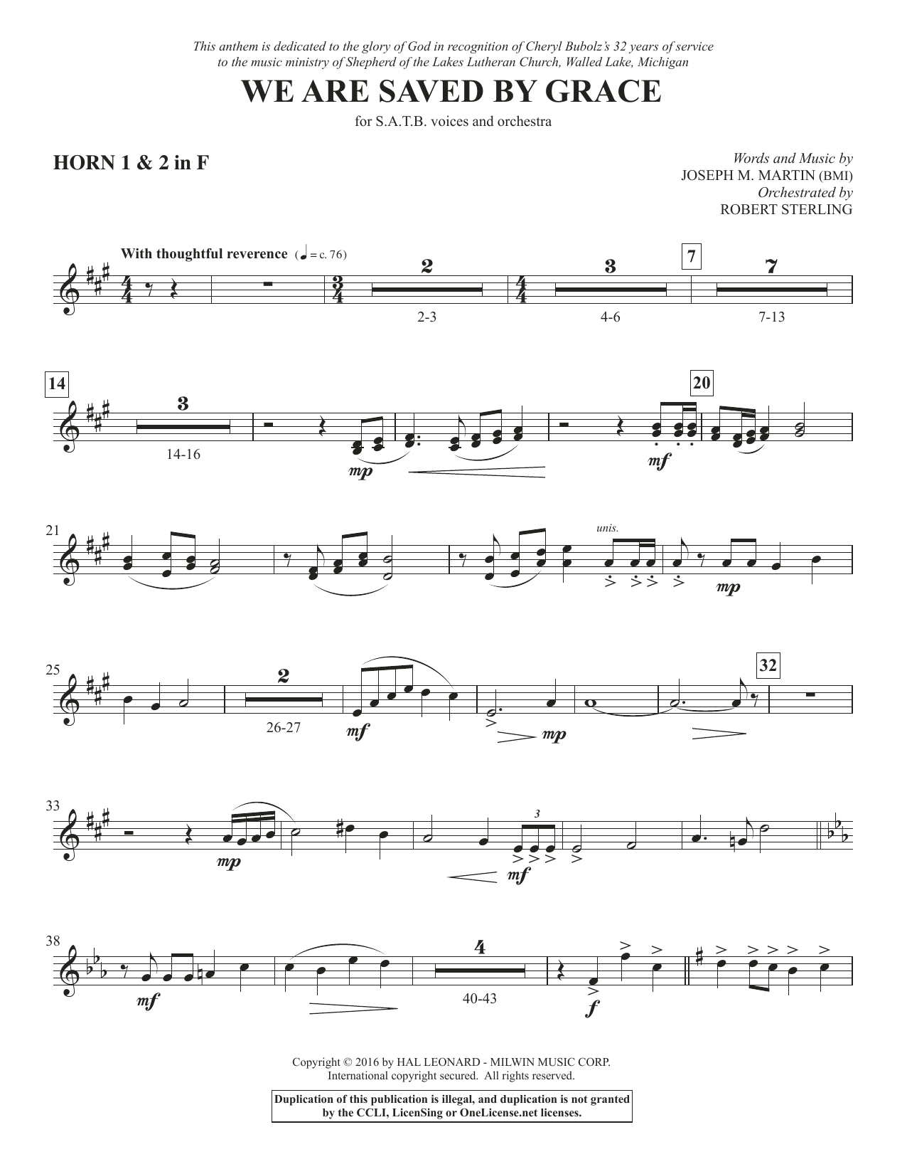 We Are Saved by Grace - F Horn 1 & 2 Sheet Music