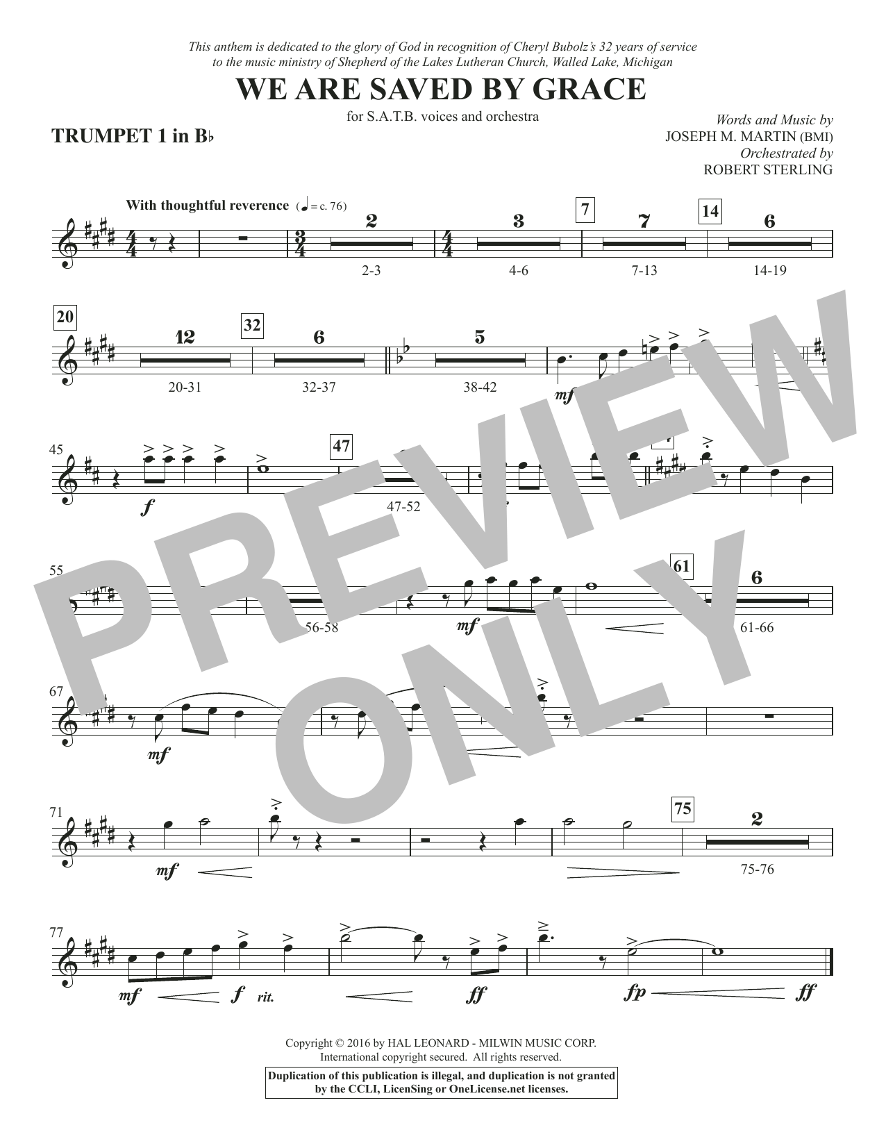 We Are Saved by Grace - Bb Trumpet 1 Sheet Music