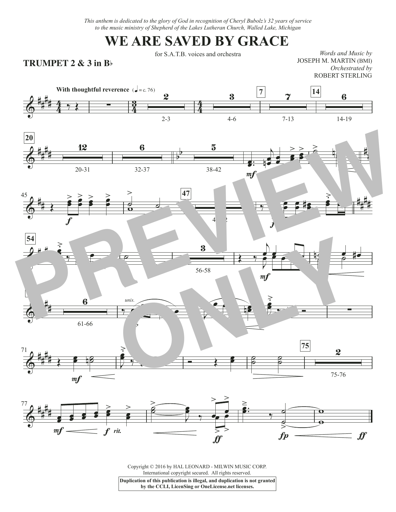 We Are Saved by Grace - Bb Trumpet 2,3 Sheet Music