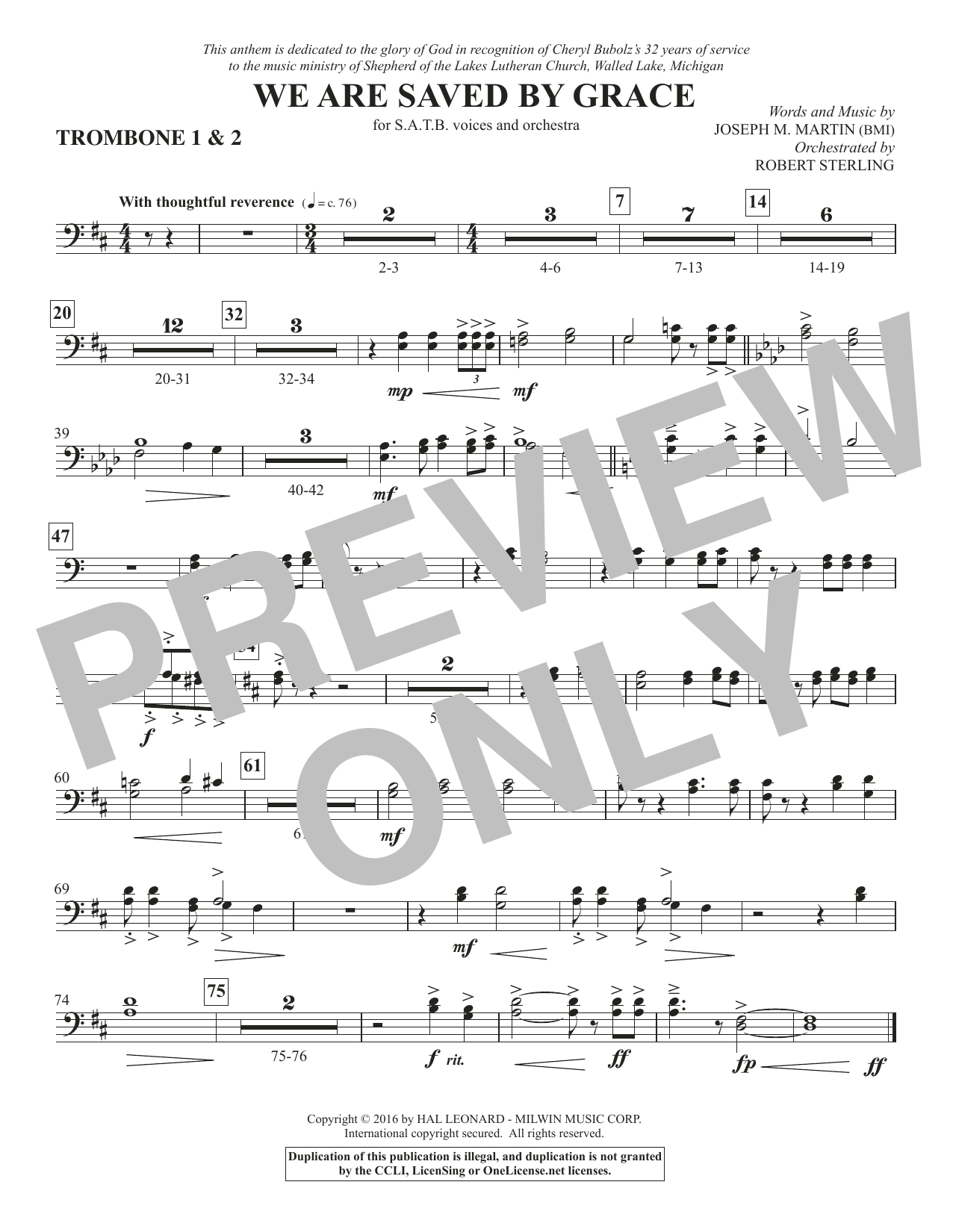 We Are Saved by Grace - Trombone 1 & 2 Sheet Music