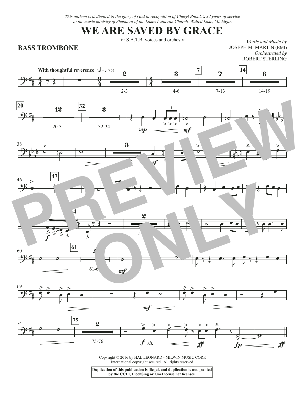 We Are Saved by Grace - Bass Trombone Sheet Music