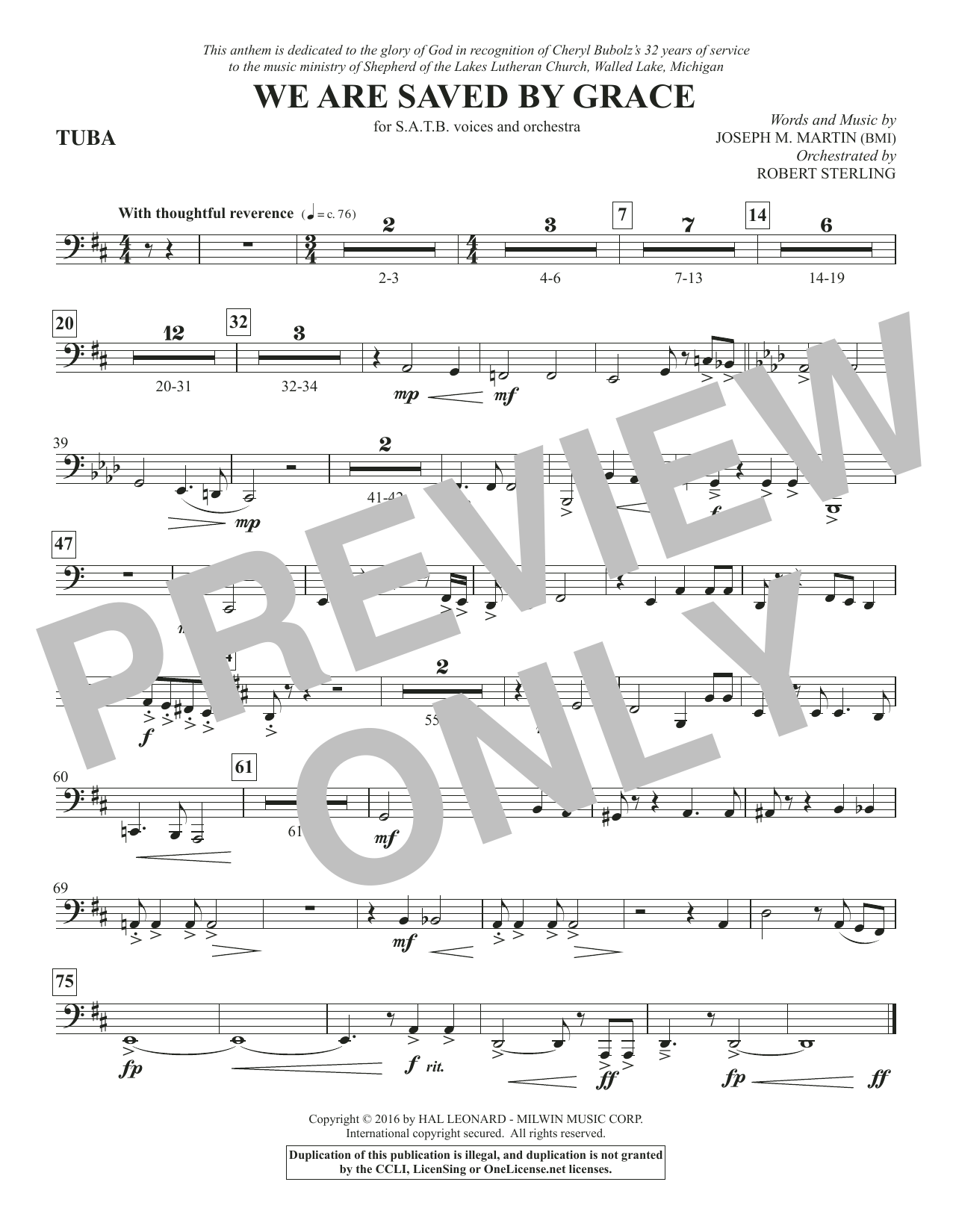 We Are Saved by Grace - Tuba Sheet Music