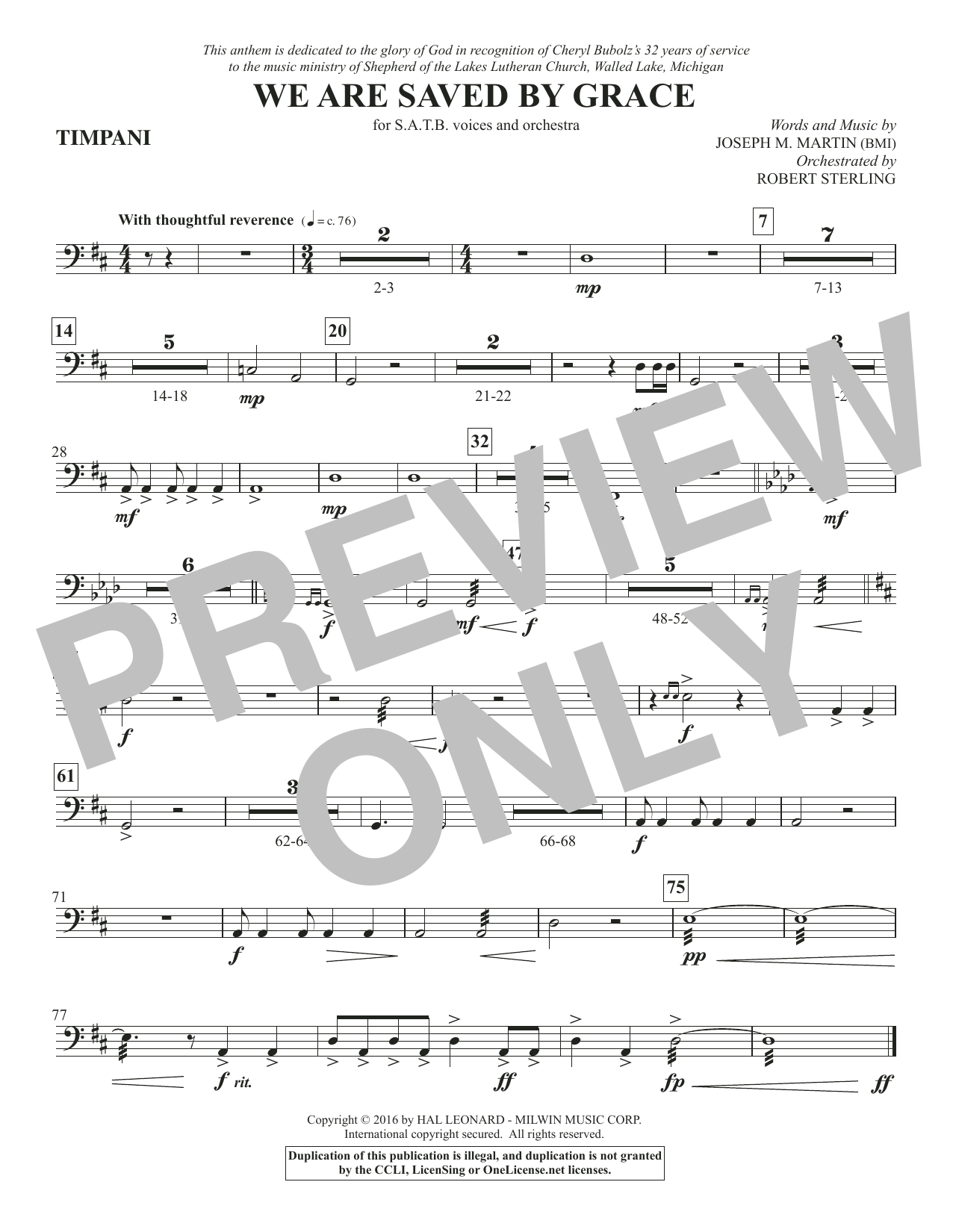 We Are Saved by Grace - Timpani Sheet Music