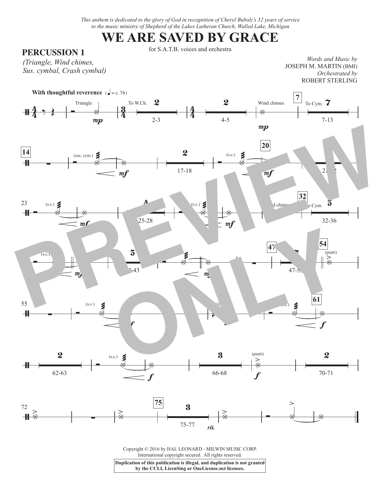 We Are Saved by Grace - Percussion 1 Sheet Music