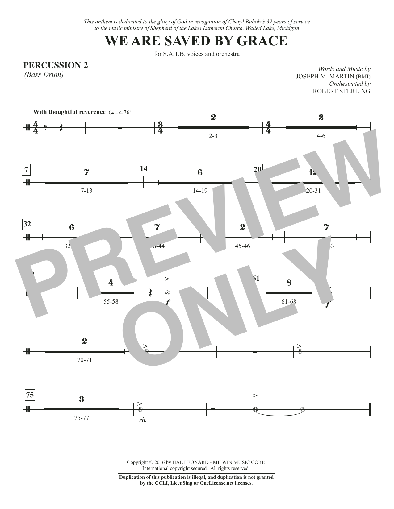 We Are Saved by Grace - Percussion 2 Sheet Music