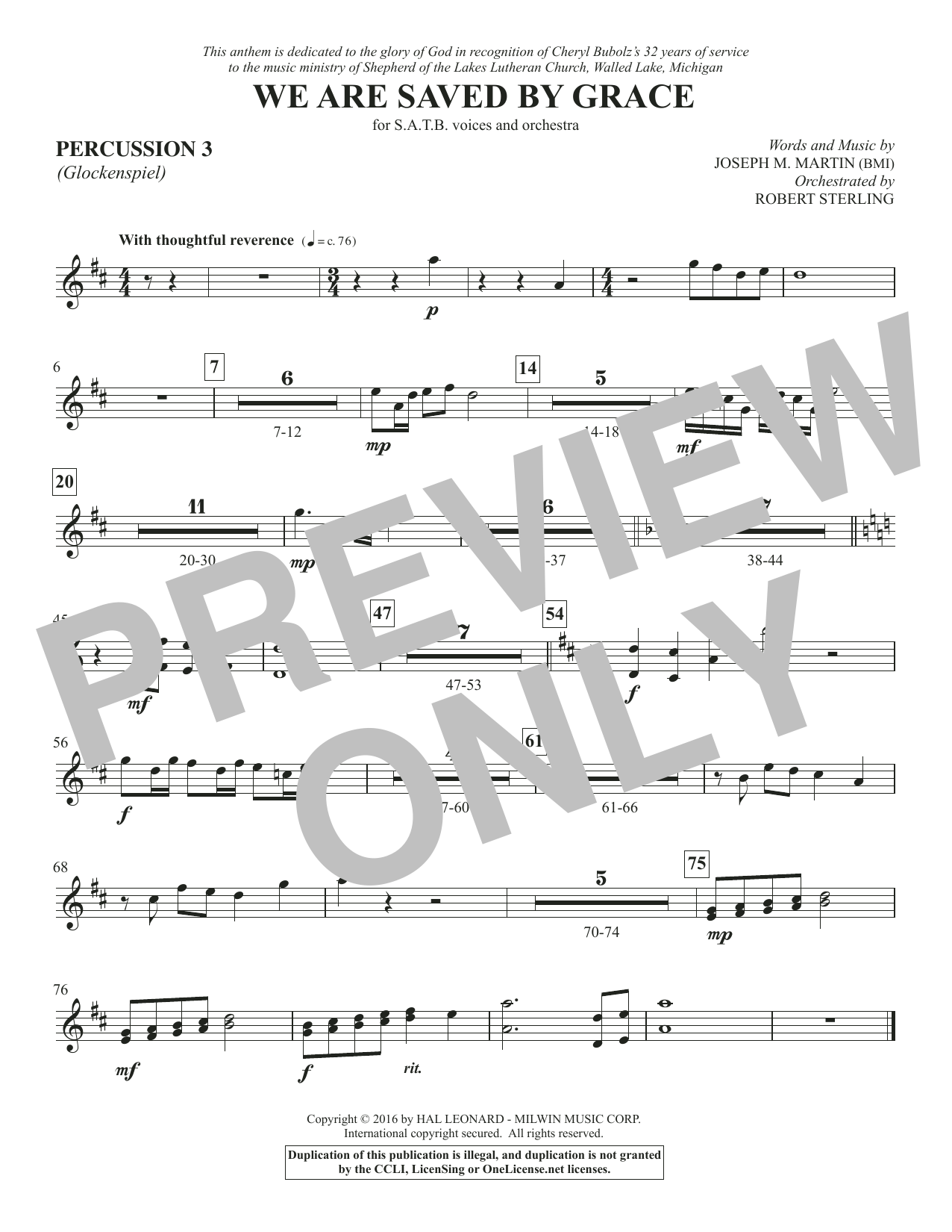We Are Saved by Grace - Percussion 3 Sheet Music