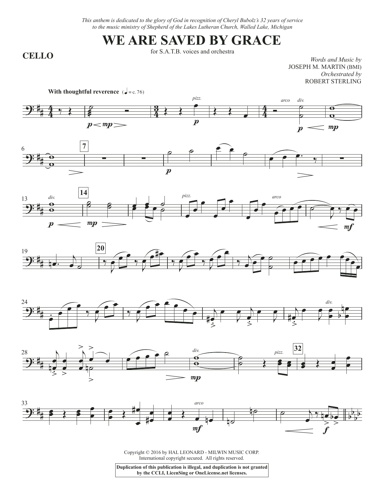 We Are Saved by Grace - Cello Sheet Music