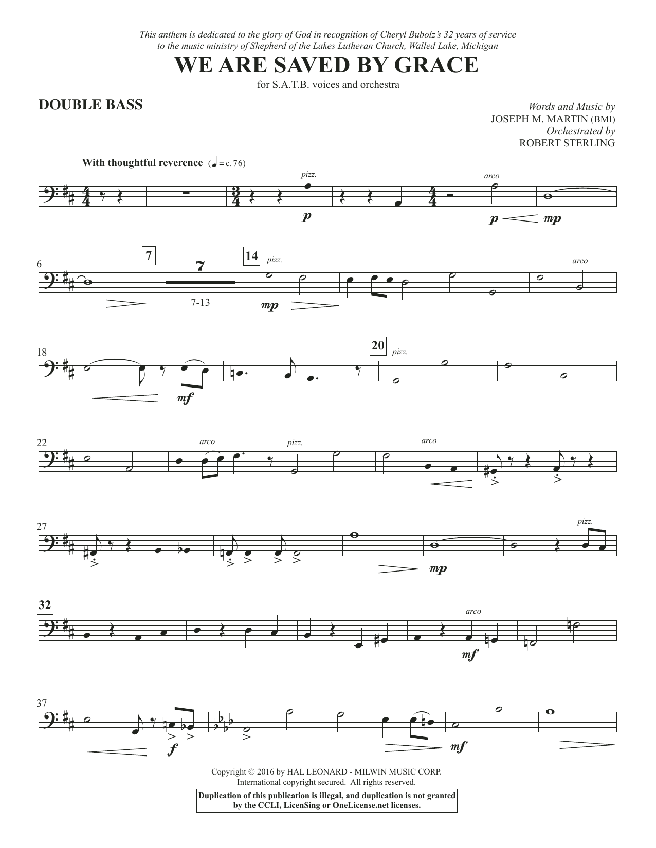 We Are Saved by Grace - Double Bass Sheet Music