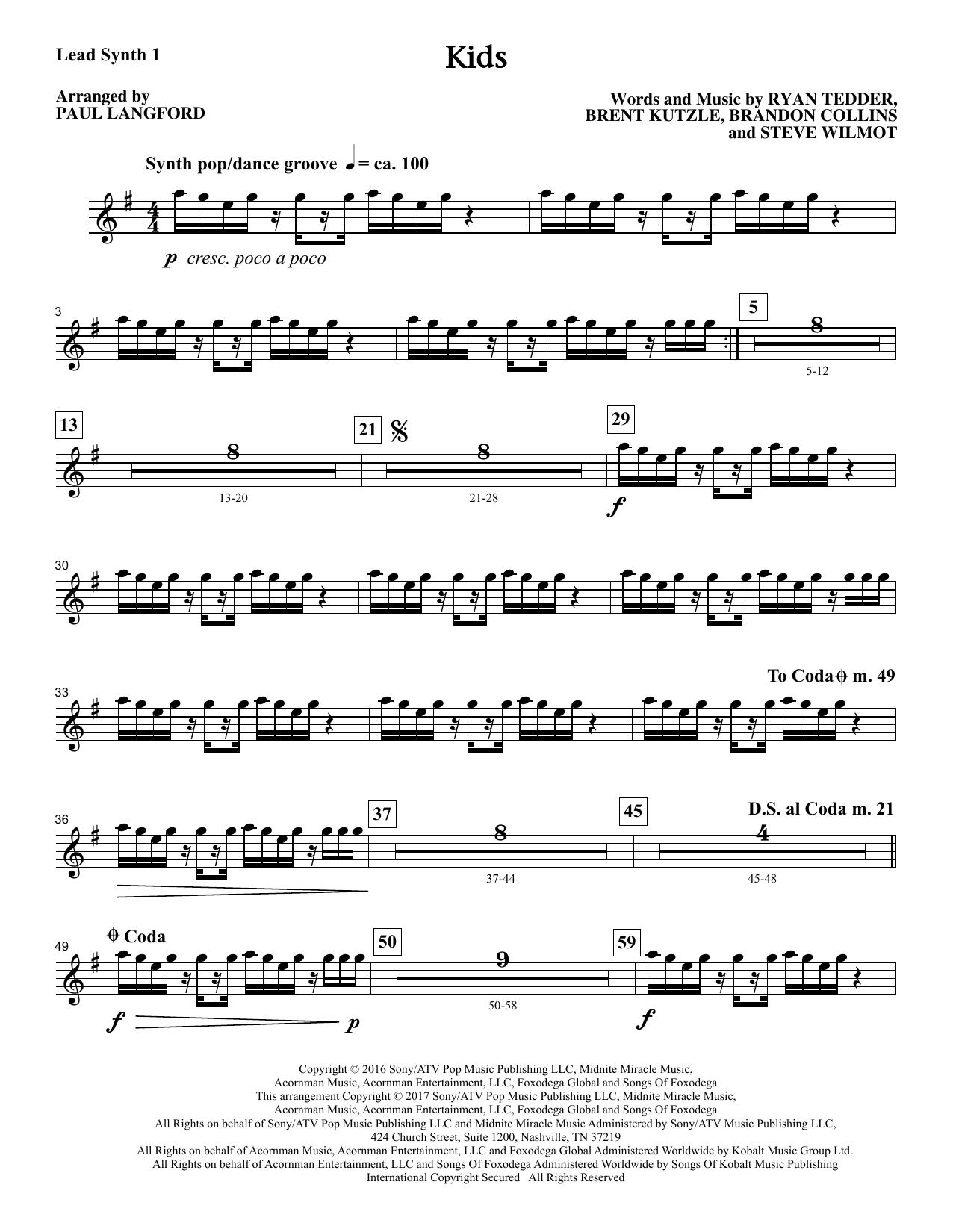 Kids (arr. Paul Langford) - Synthesizer I Sheet Music