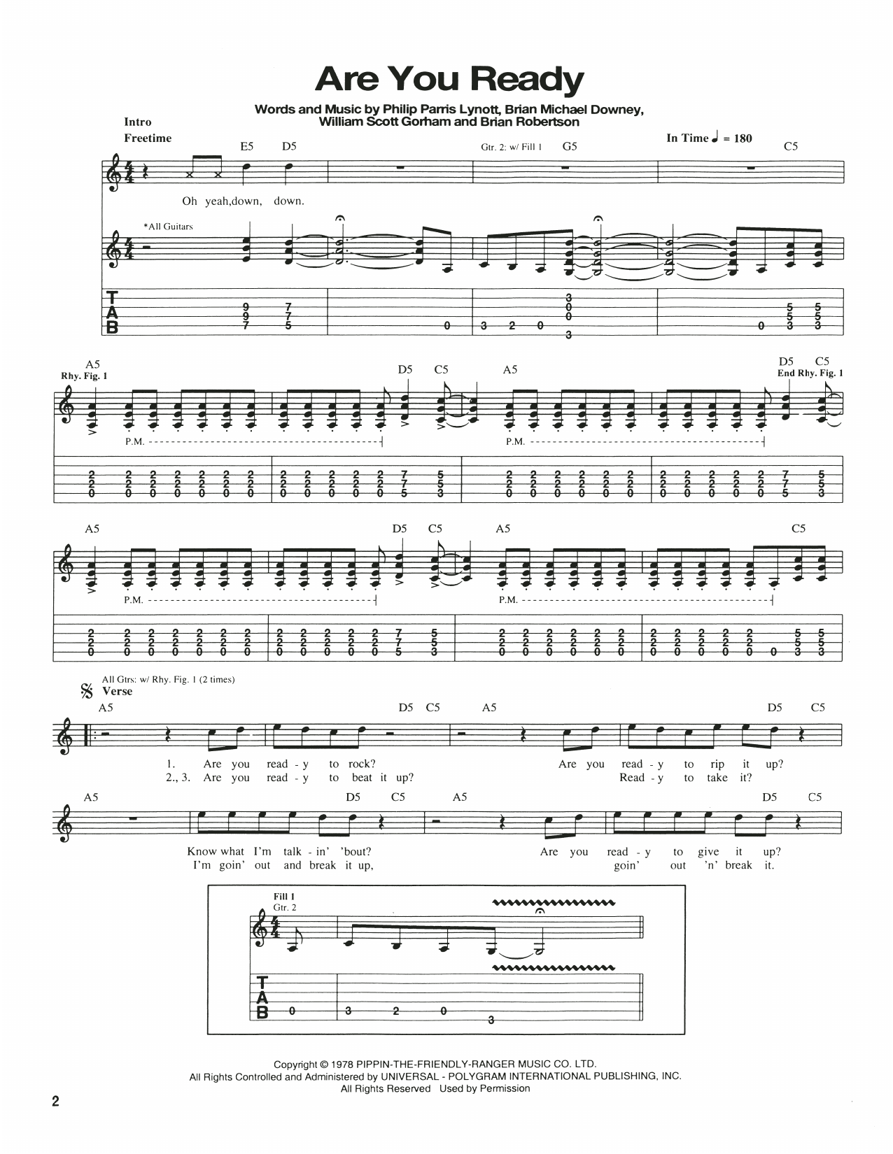 Are You Ready Sheet Music