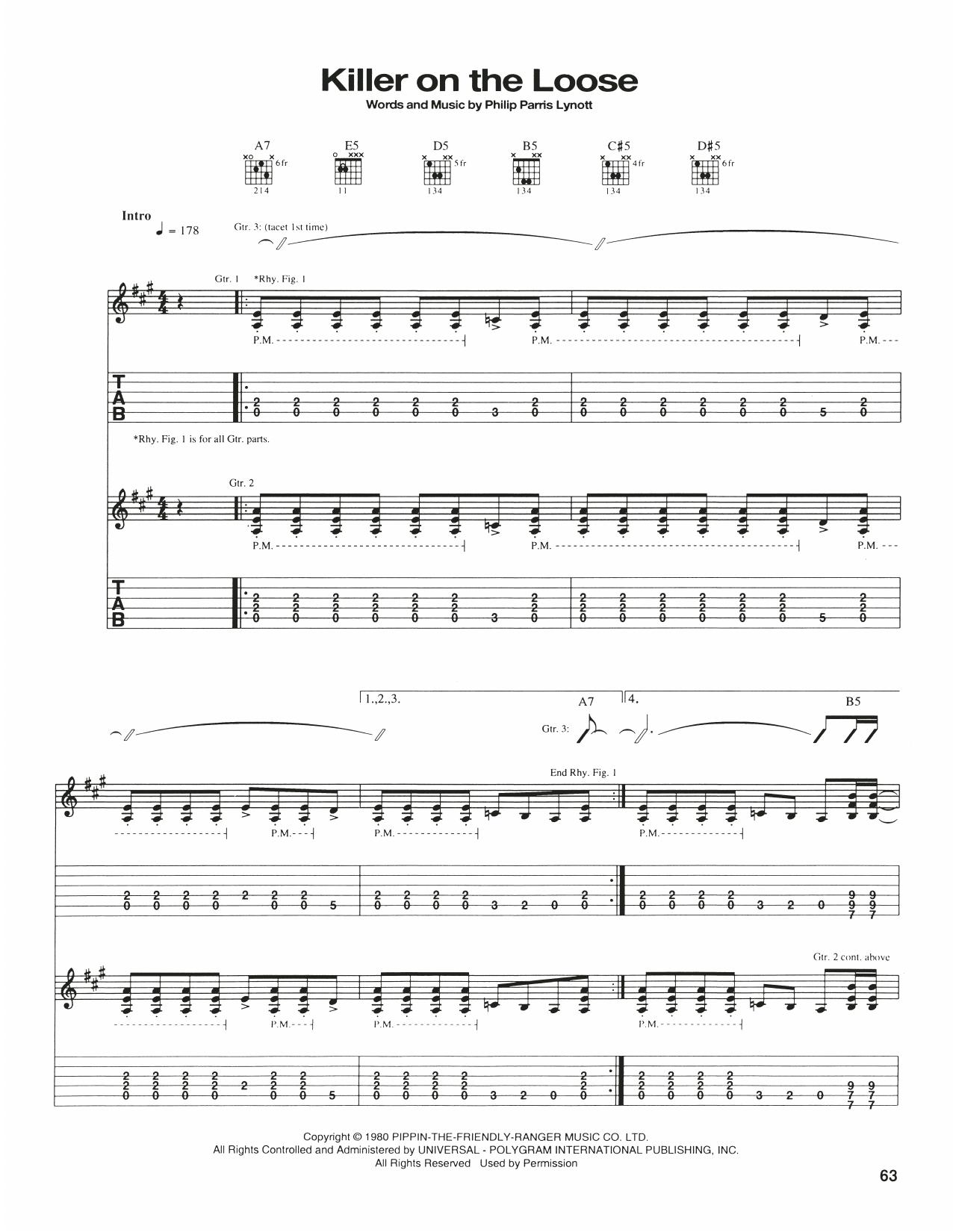 Killer On The Loose (Guitar Tab)