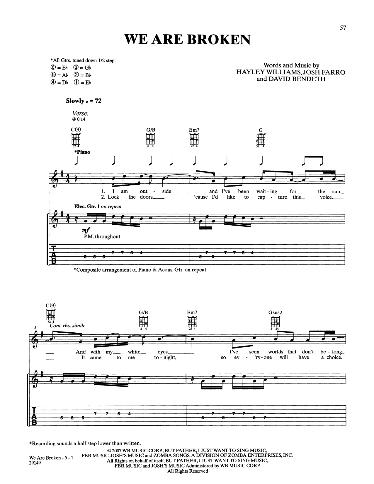 We Are Broken Sheet Music Paramore Guitar Tab