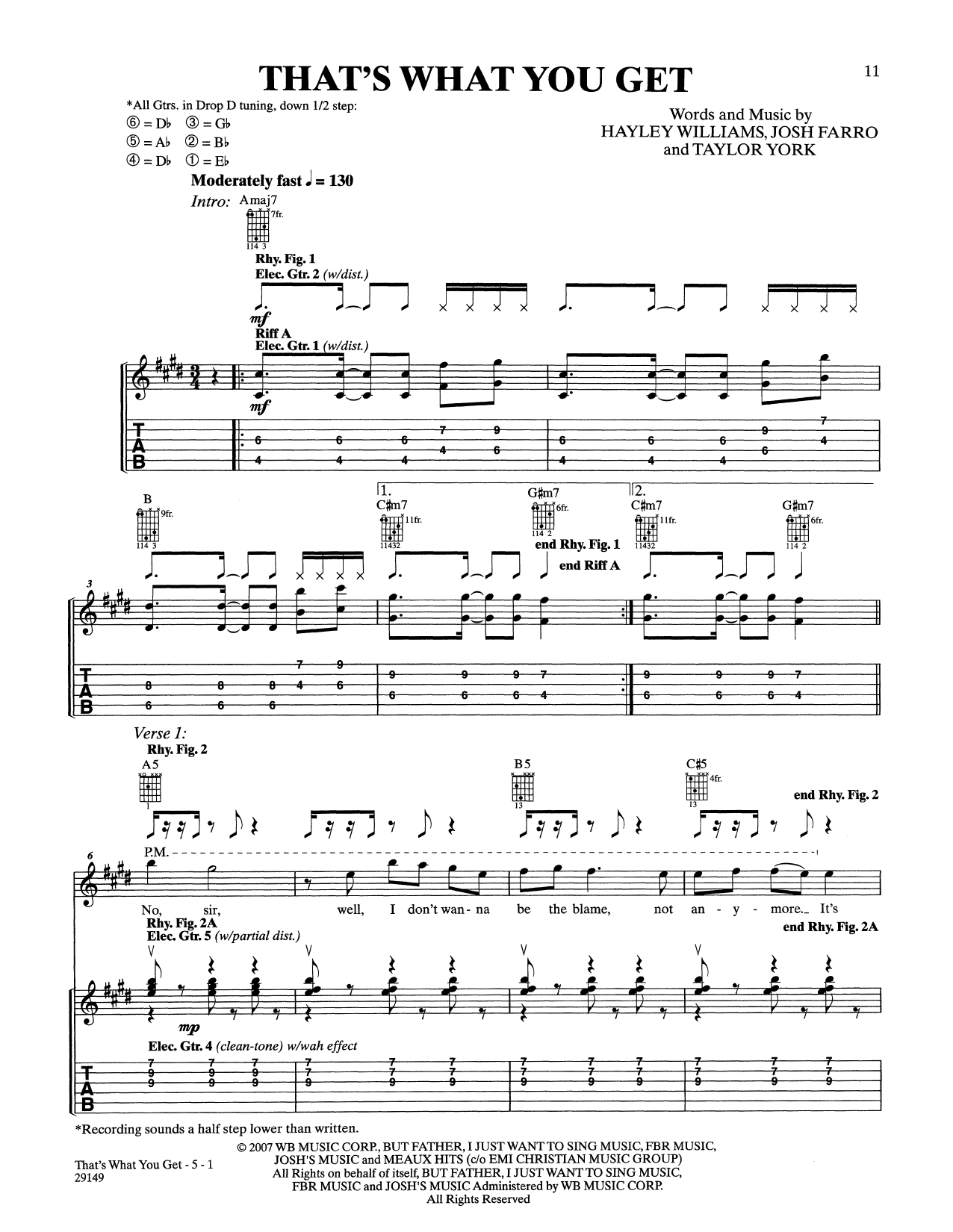 That's What You Get by Paramore - Guitar Tab - Guitar Instructor
